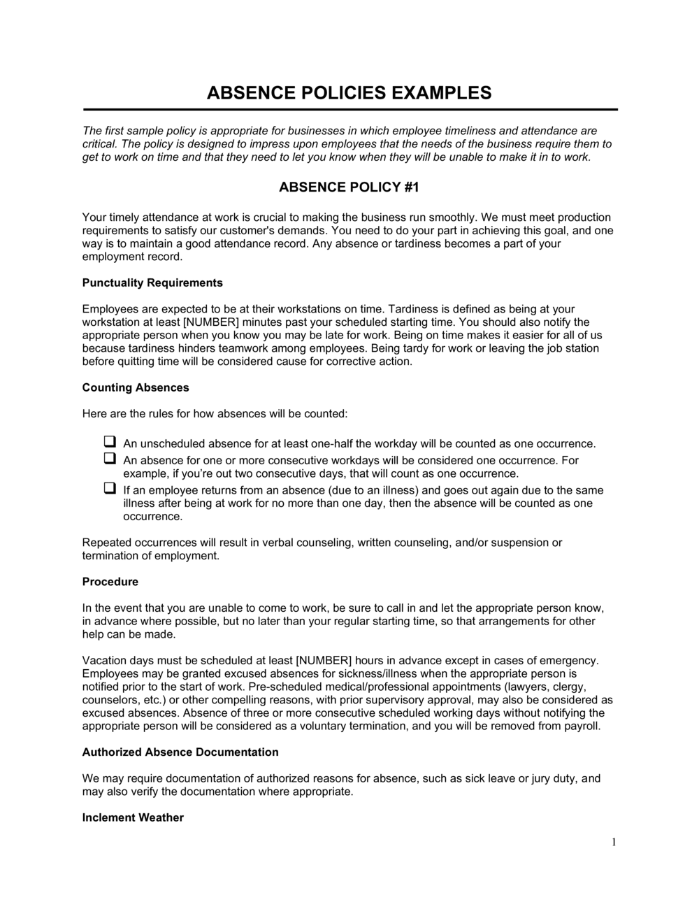 Business-in-a-Box's Absence Policies Template