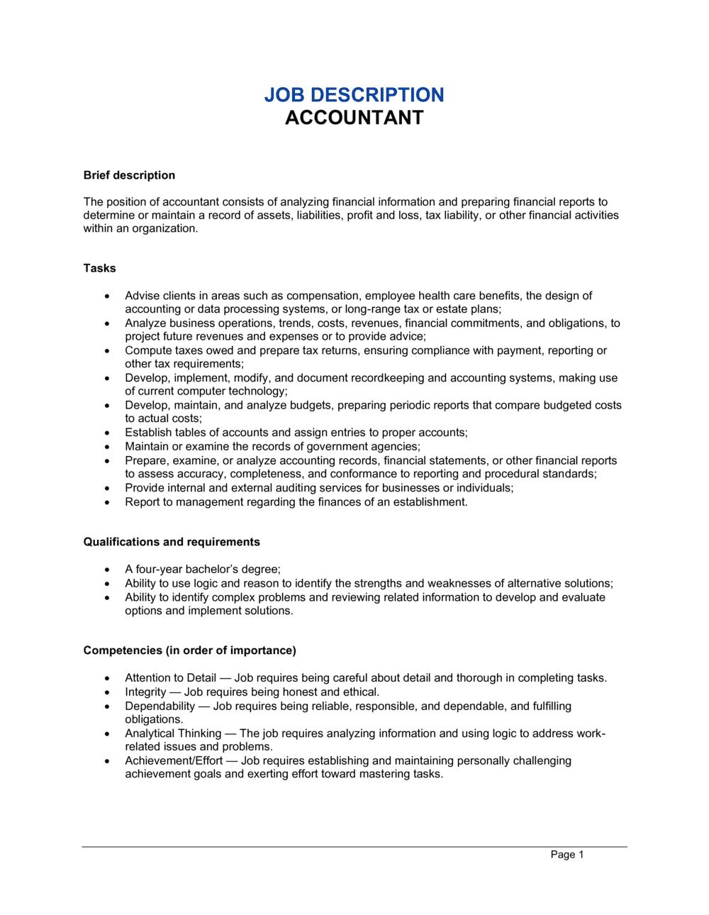 Business-in-a-Box's Accountant Job Description Template