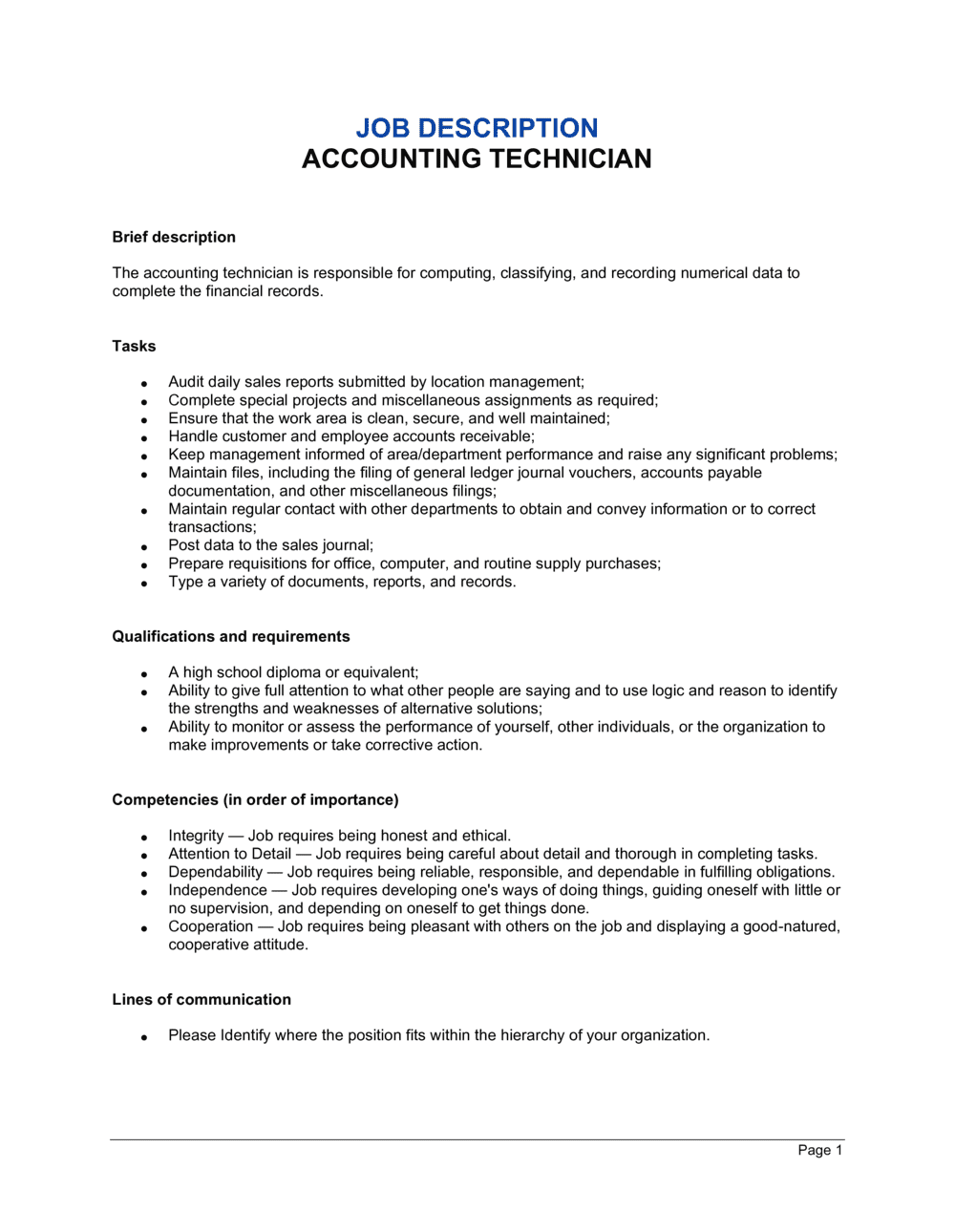 Business-in-a-Box's Accounting Technician Job Description Template