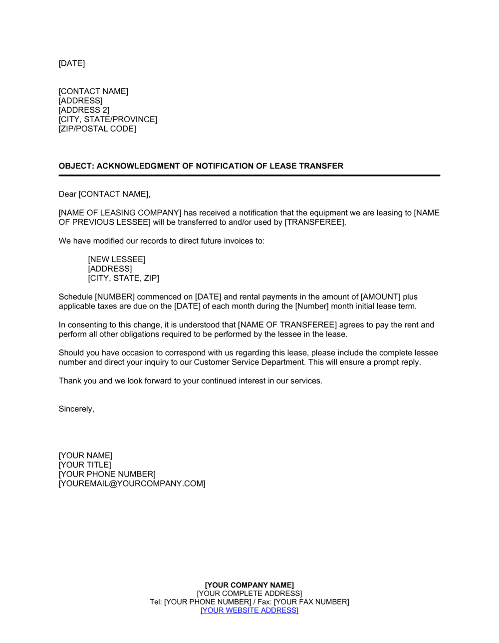 Business-in-a-Box's Acknowledgment of Notification of Lease Transfer Template