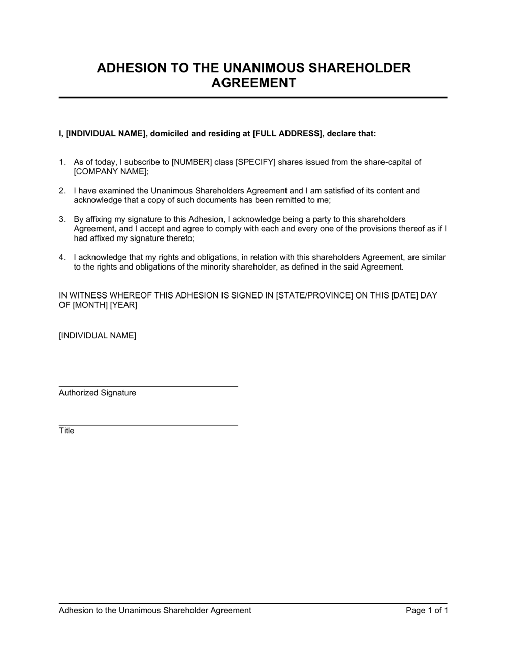 Business-in-a-Box's Adhesion to the Unanimous Shareholder Agreement Template