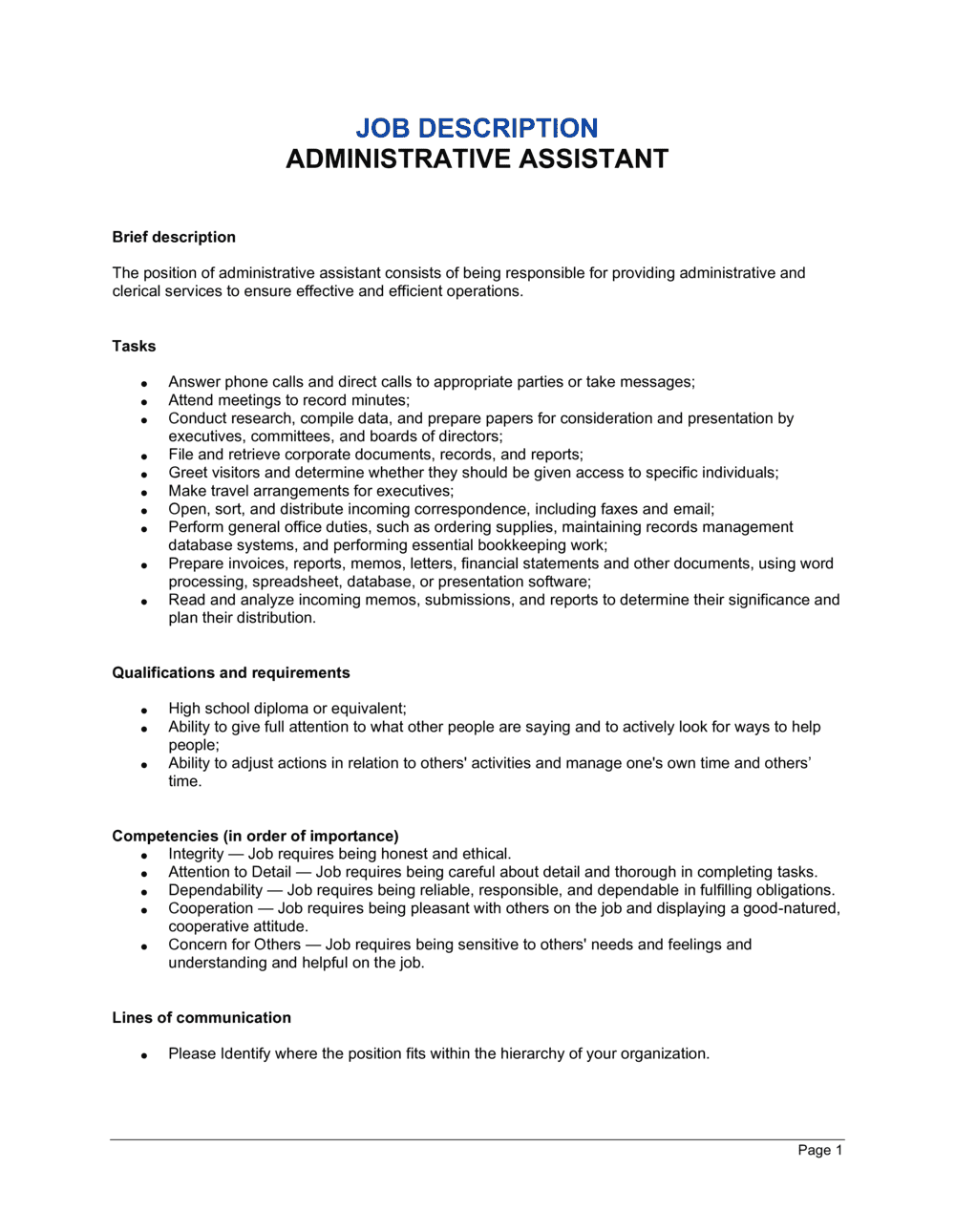 Business-in-a-Box's Administrative Assistant Job Description Template