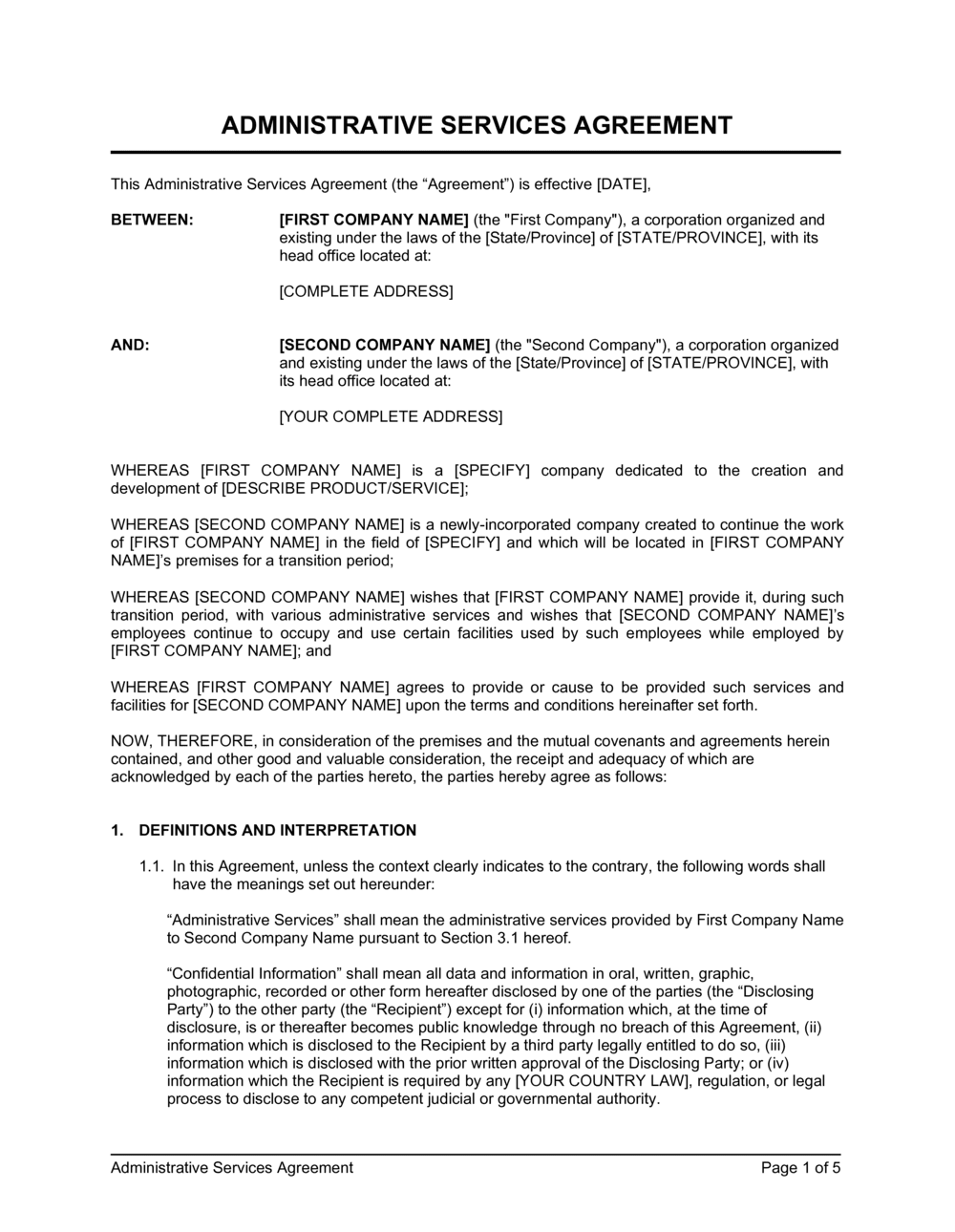 Business-in-a-Box's Administrative Services Agreement 2 Template