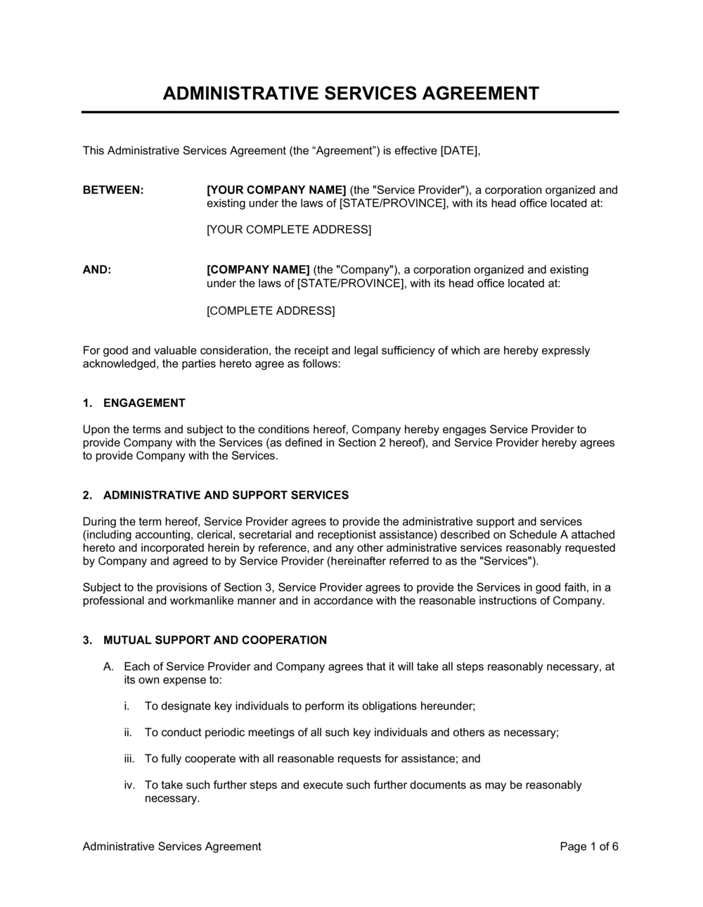 Business-in-a-Box's Administrative Services Agreement 3 Template