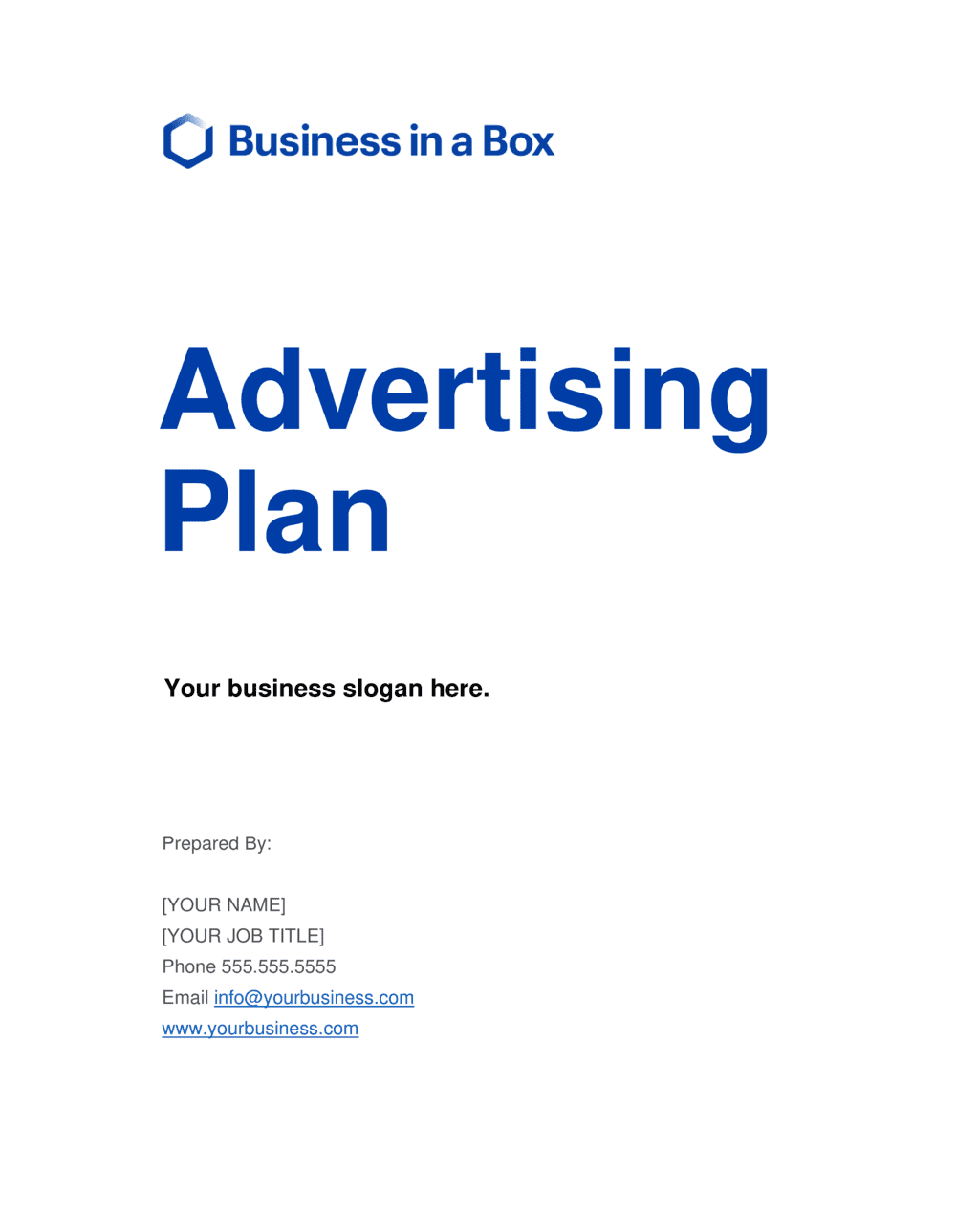 Business-in-a-Box's Advertising Plan Template