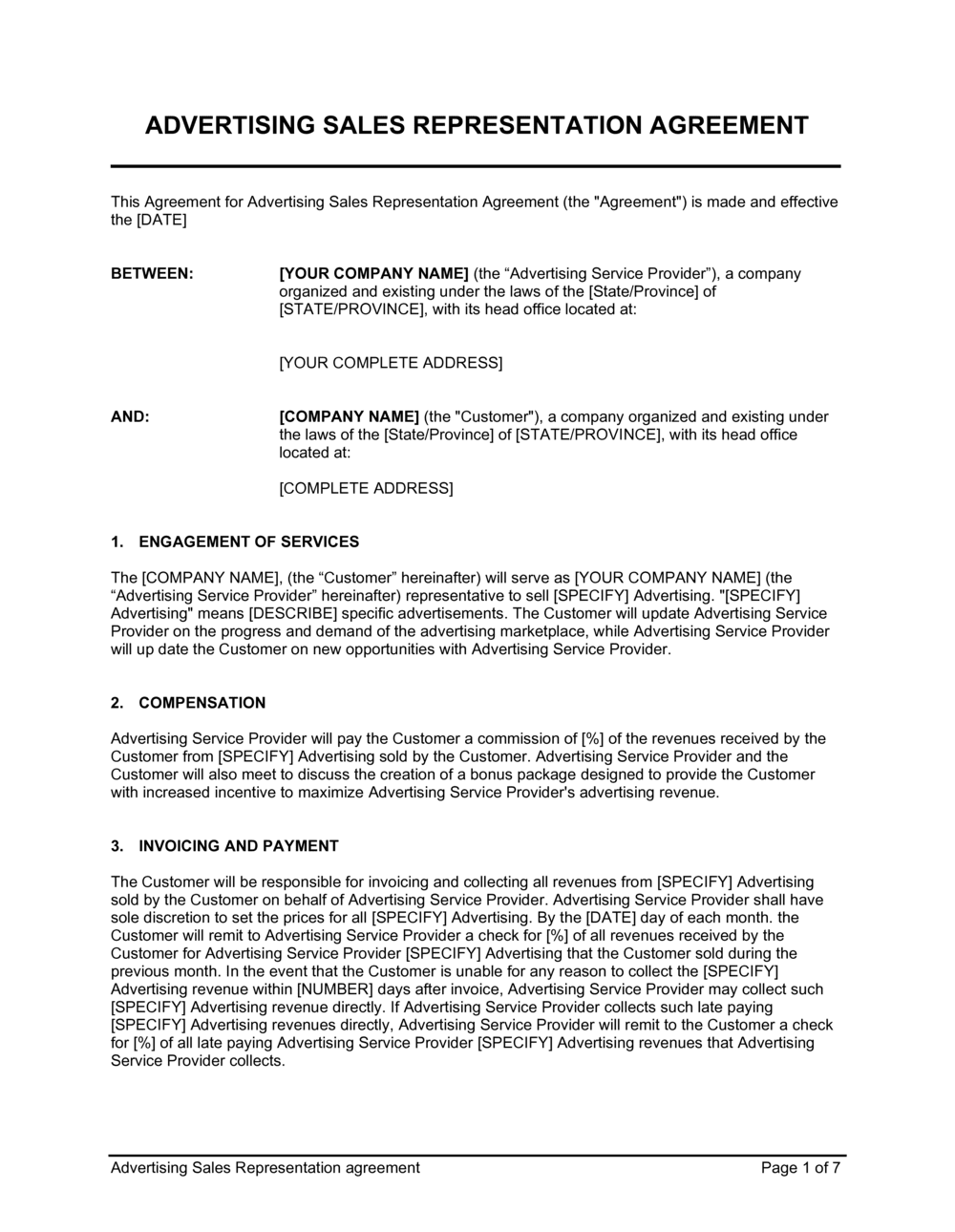 Business-in-a-Box's Advertising Sales Representation Agreement Template