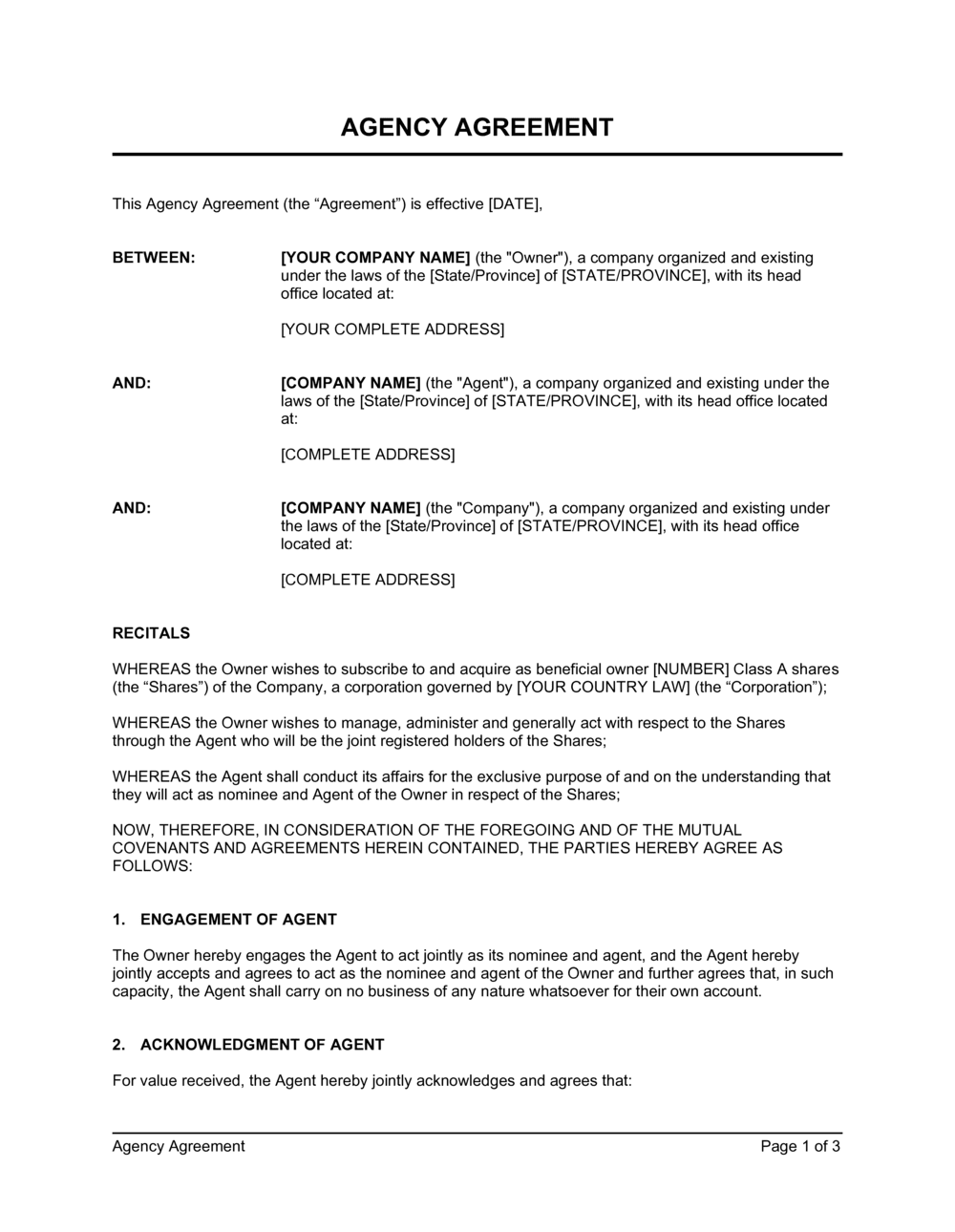 Business-in-a-Box's Agency Agreement Corporate Duties Template