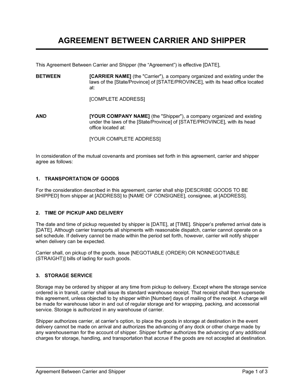 Business-in-a-Box's Agreement Between Carrier and Shipper Template