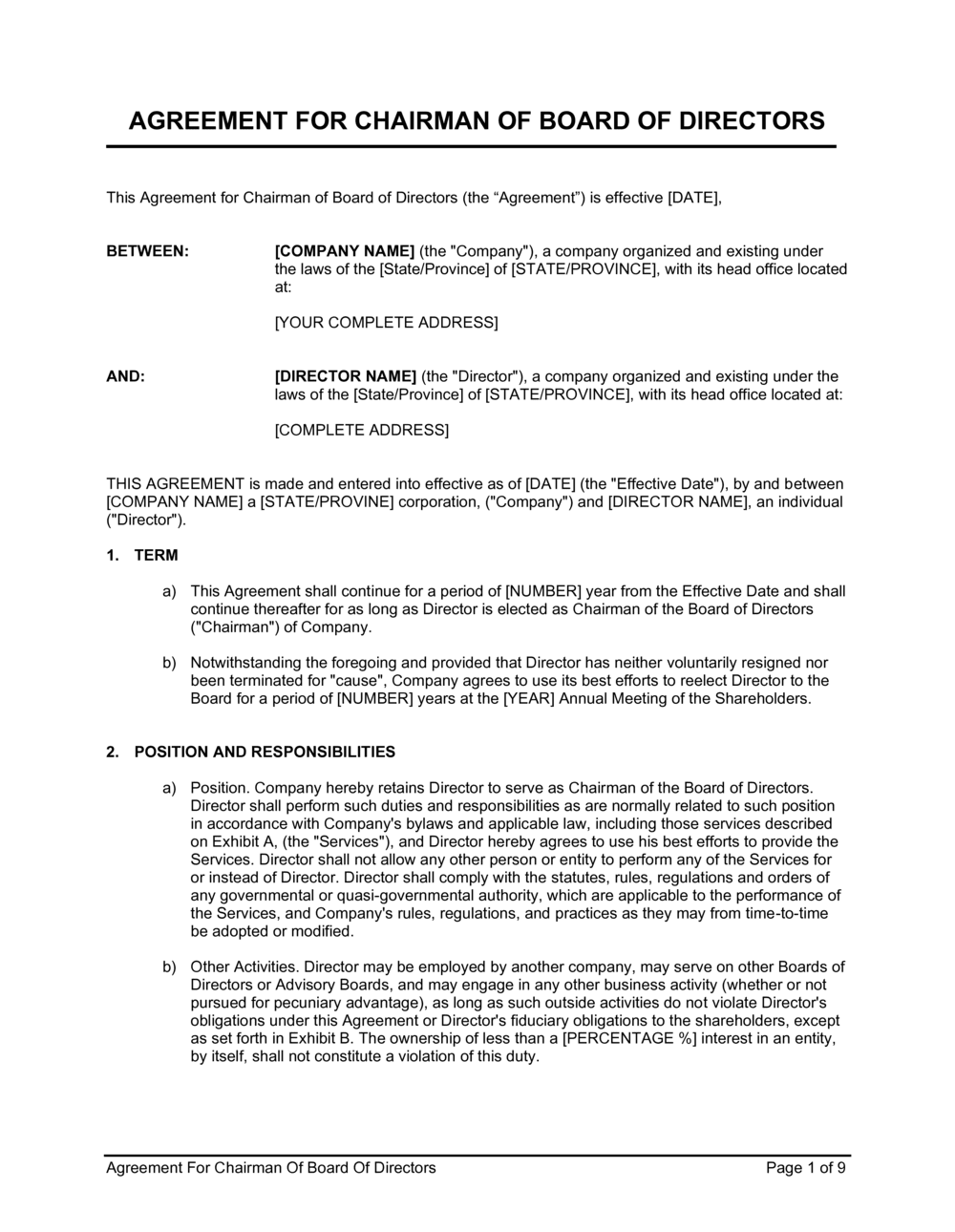 Business-in-a-Box's Agreement for Chairman of Board of Directors Template