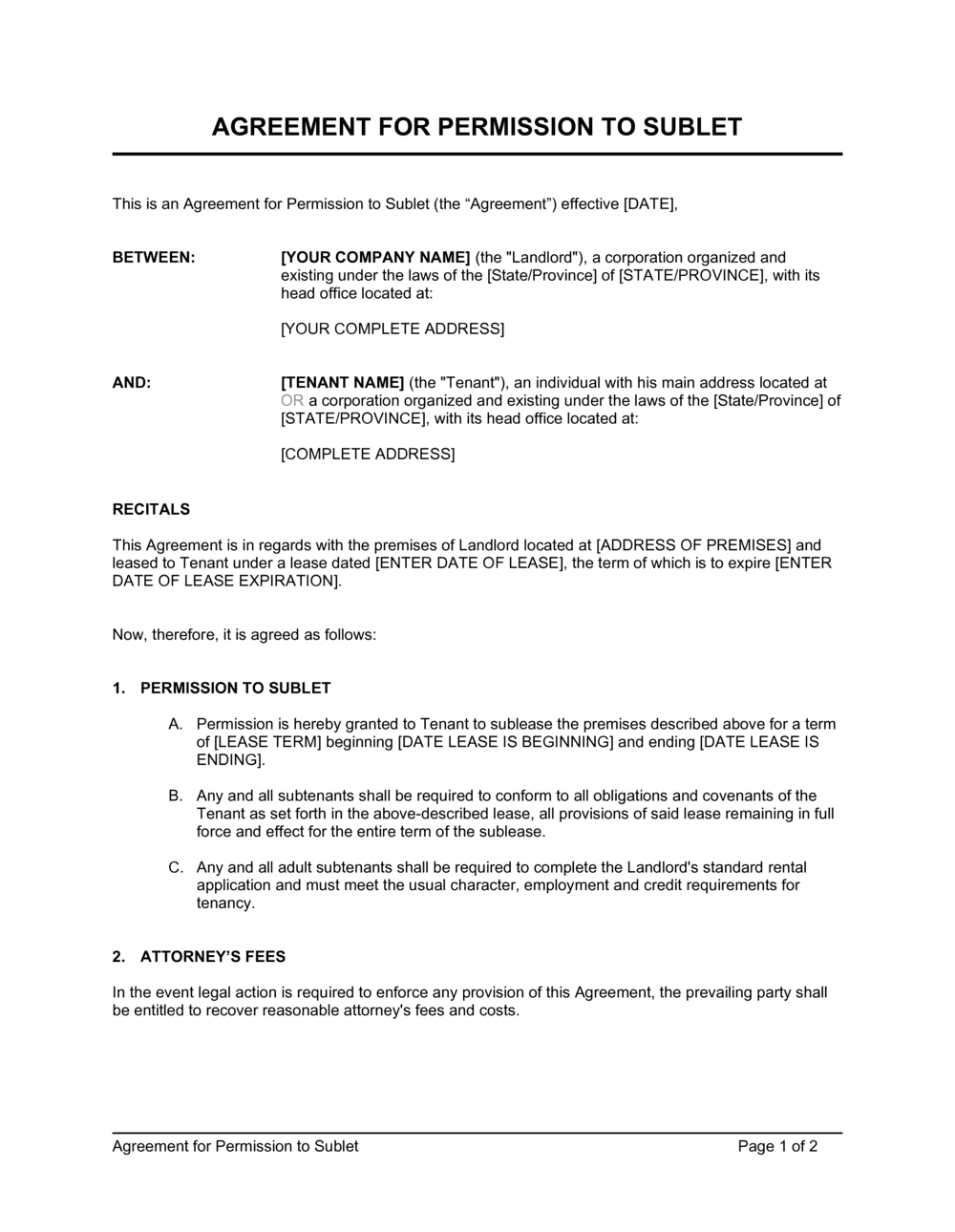 Business-in-a-Box's Agreement for Permission to Sublet Template