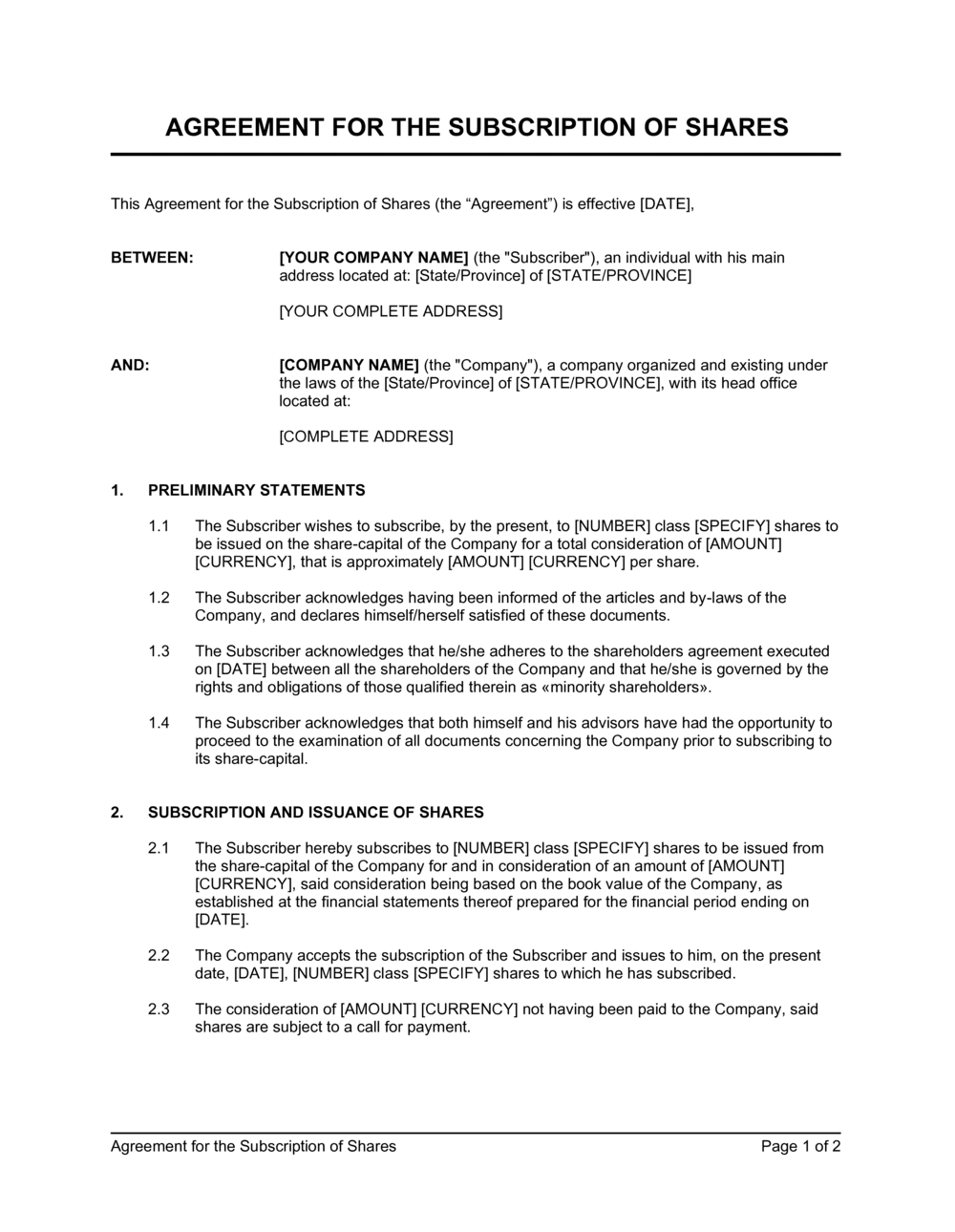 Business-in-a-Box's Agreement for the Subscription of Shares Template