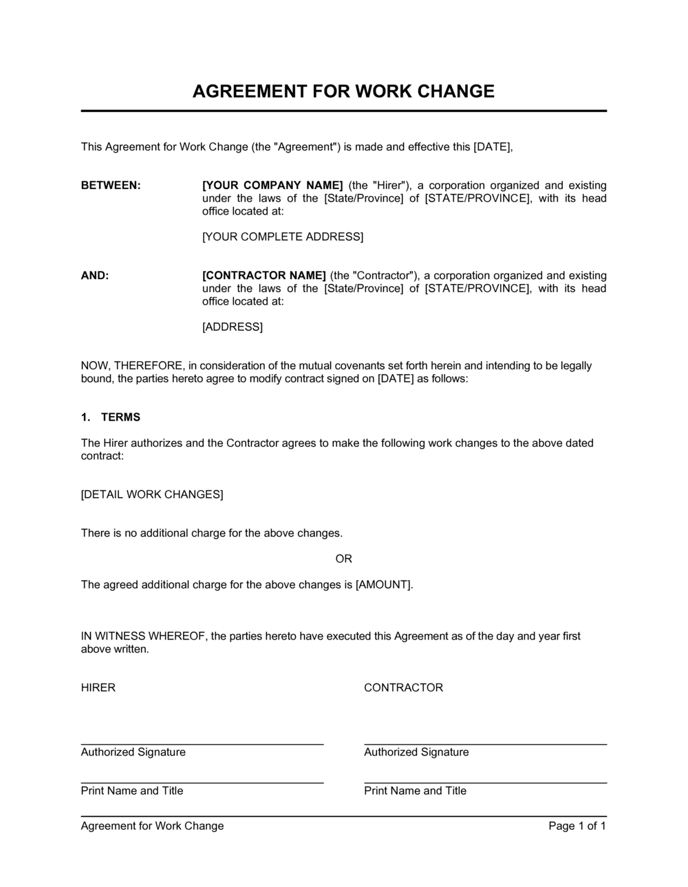 Business-in-a-Box's Agreement for Work Change Template