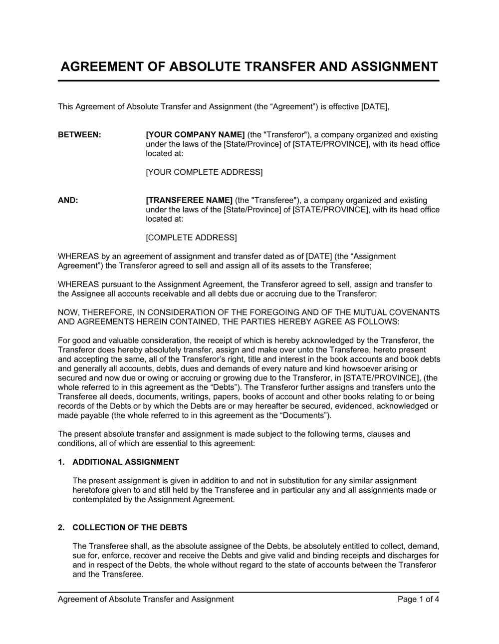 Business-in-a-Box's Agreement of Absolute Transfer and Assignment Template