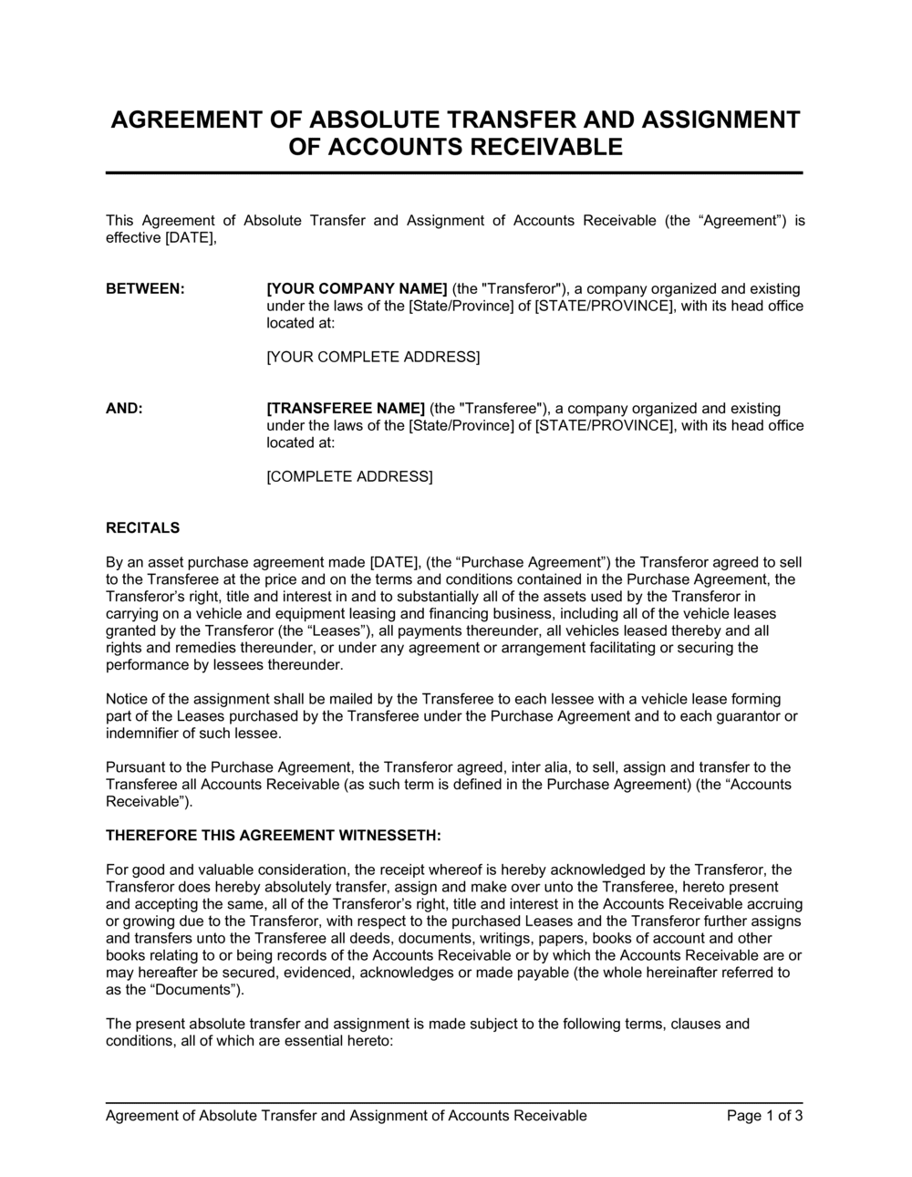 Business-in-a-Box's Agreement of Absolute Transfer and Assignment of Accounts Receivable Template
