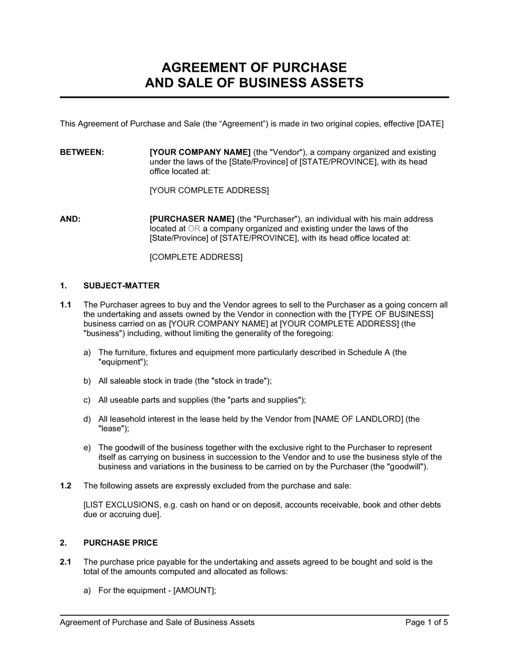 Business-in-a-Box's Agreement of Purchase and Sale of Business Assets Template
