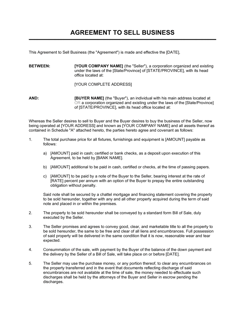Business-in-a-Box's Agreement of Purchase and Sale of Business Assets Short Template