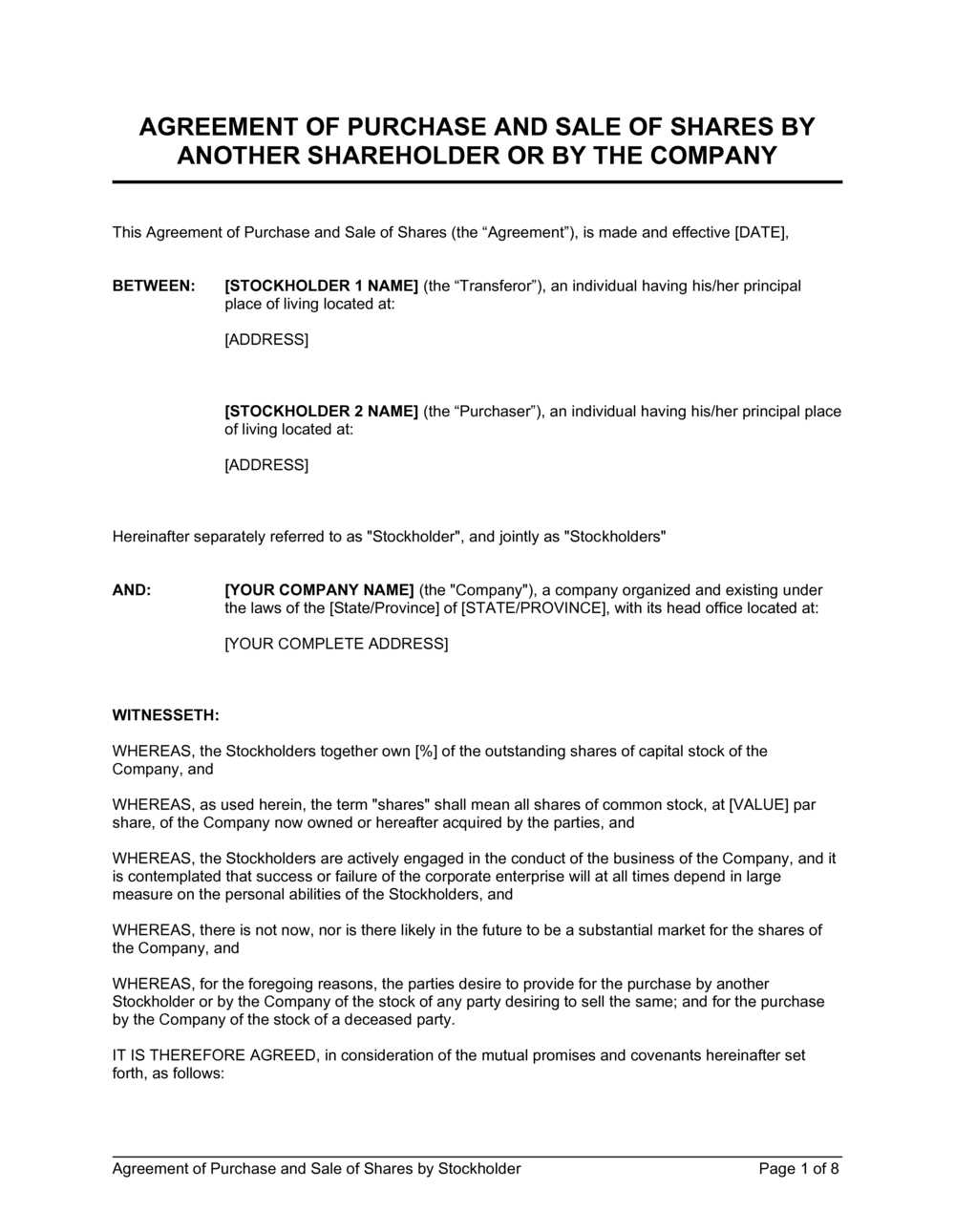 Business-in-a-Box's Agreement of Purchase and Sale of Shares by Shareholder Template