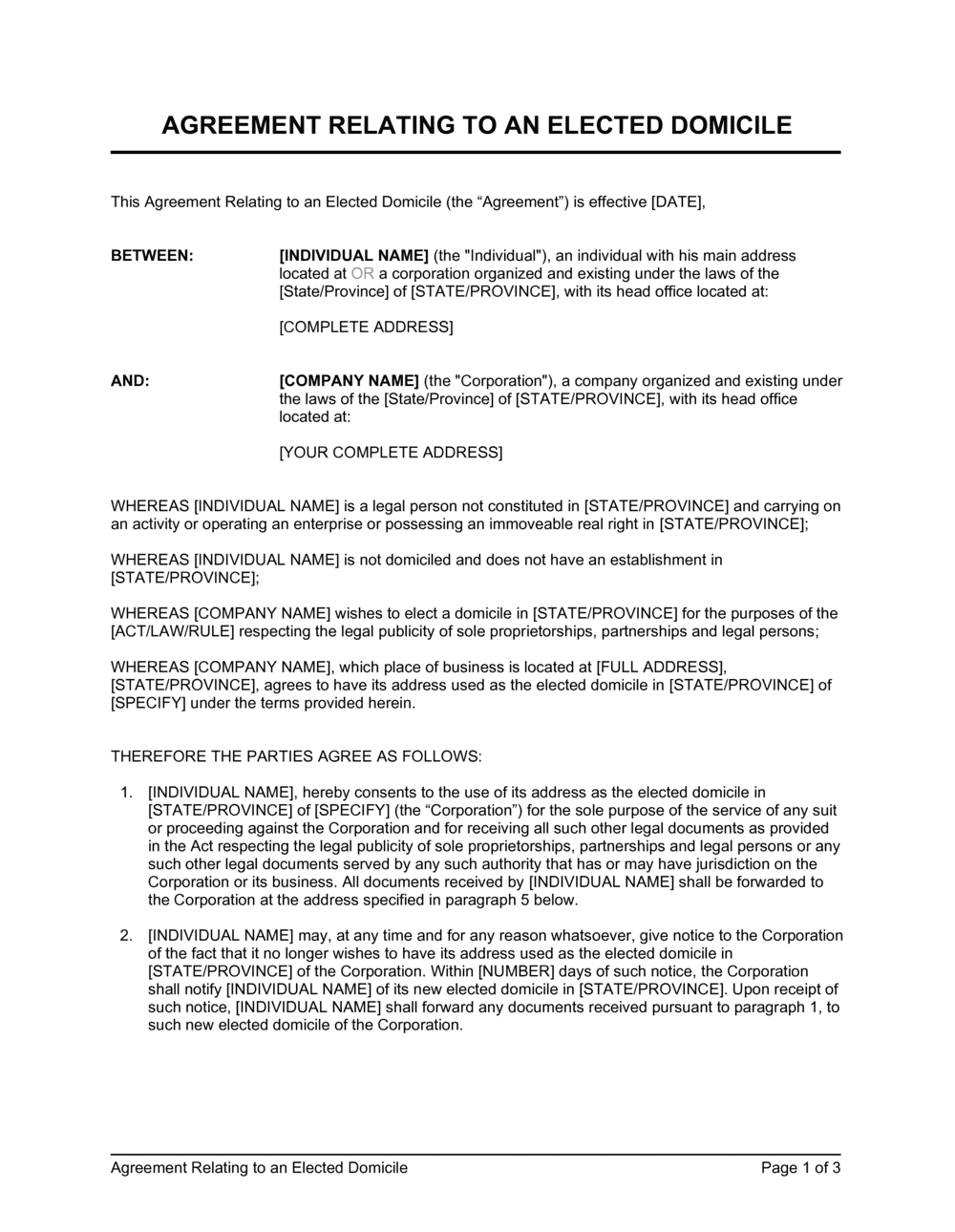 Business-in-a-Box's Agreement Relating to an Elected Domicile Template