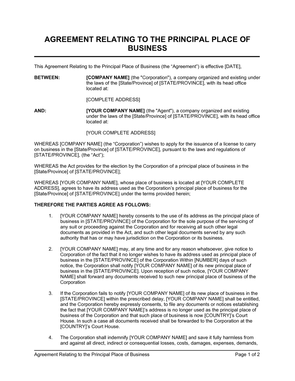 Business-in-a-Box's Agreement Relating to the Principal Place of Business Template
