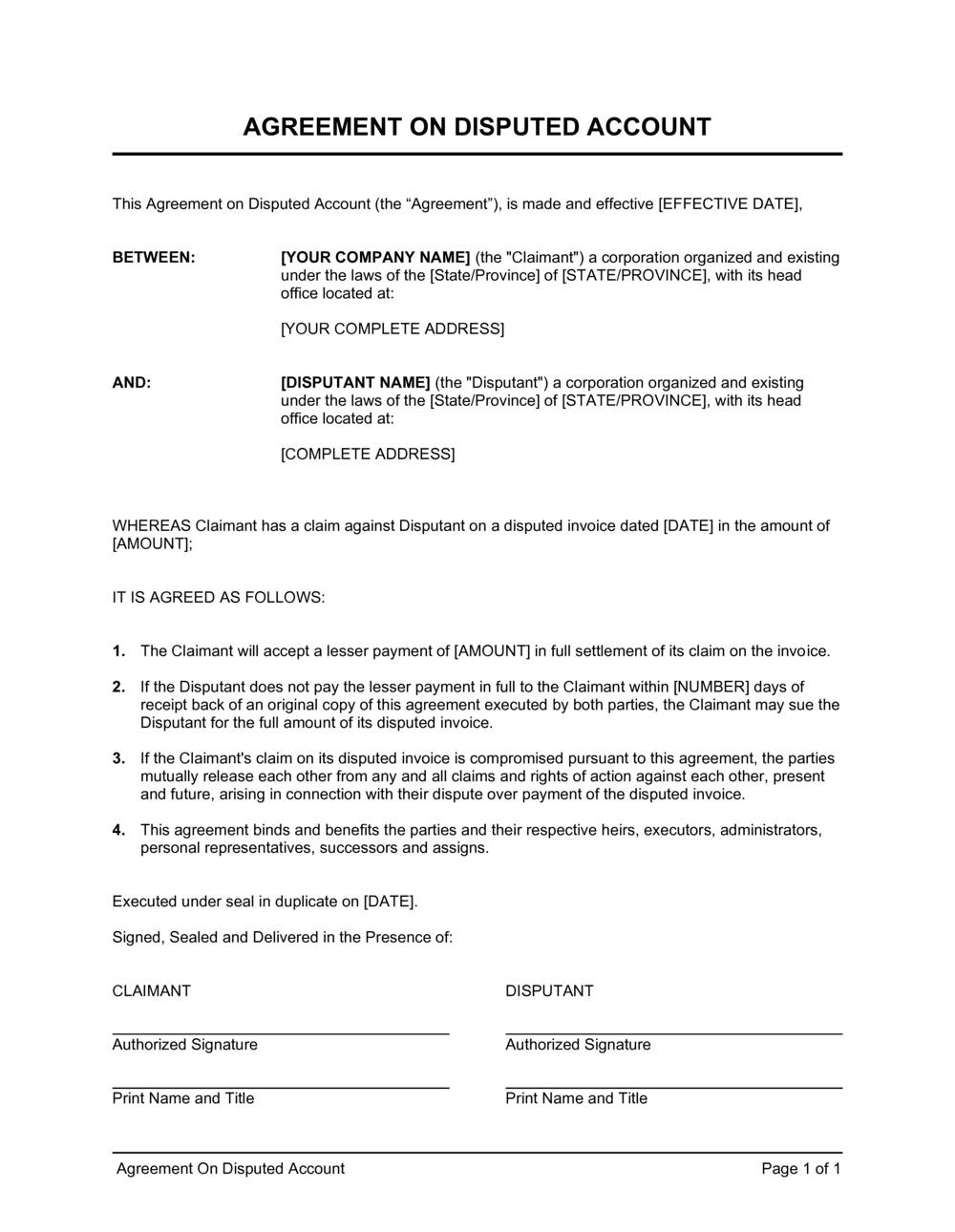Business-in-a-Box's Agreement to Compromise Disputed Account Template