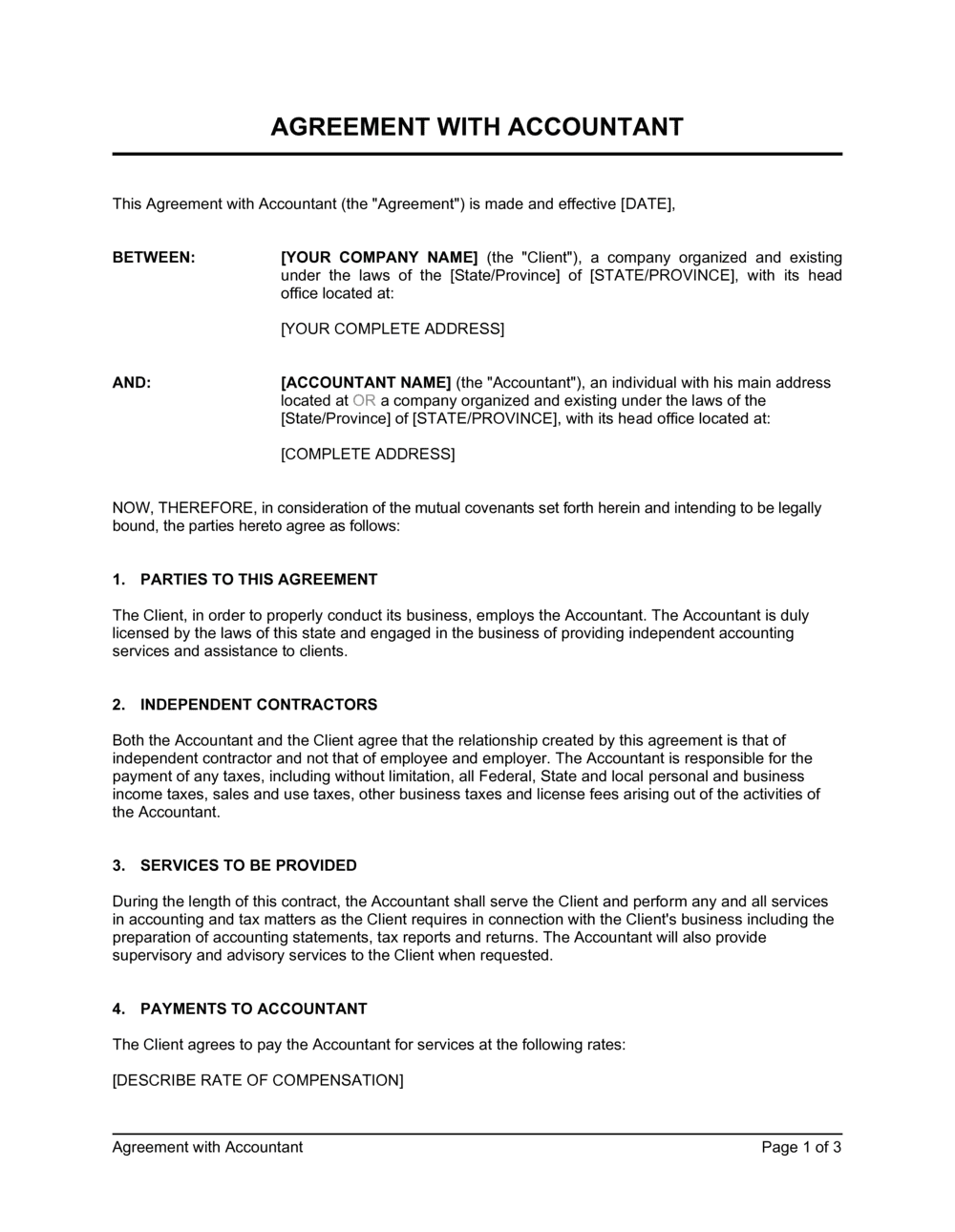 Business-in-a-Box's Agreement with Accountant Template
