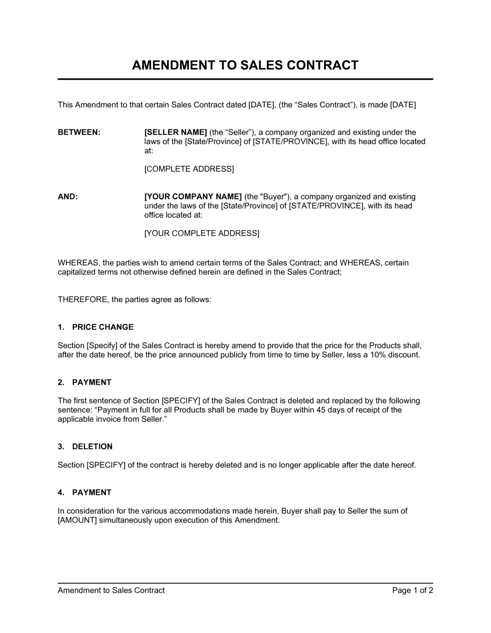 Business-in-a-Box's Amendment to Sales Contract Template