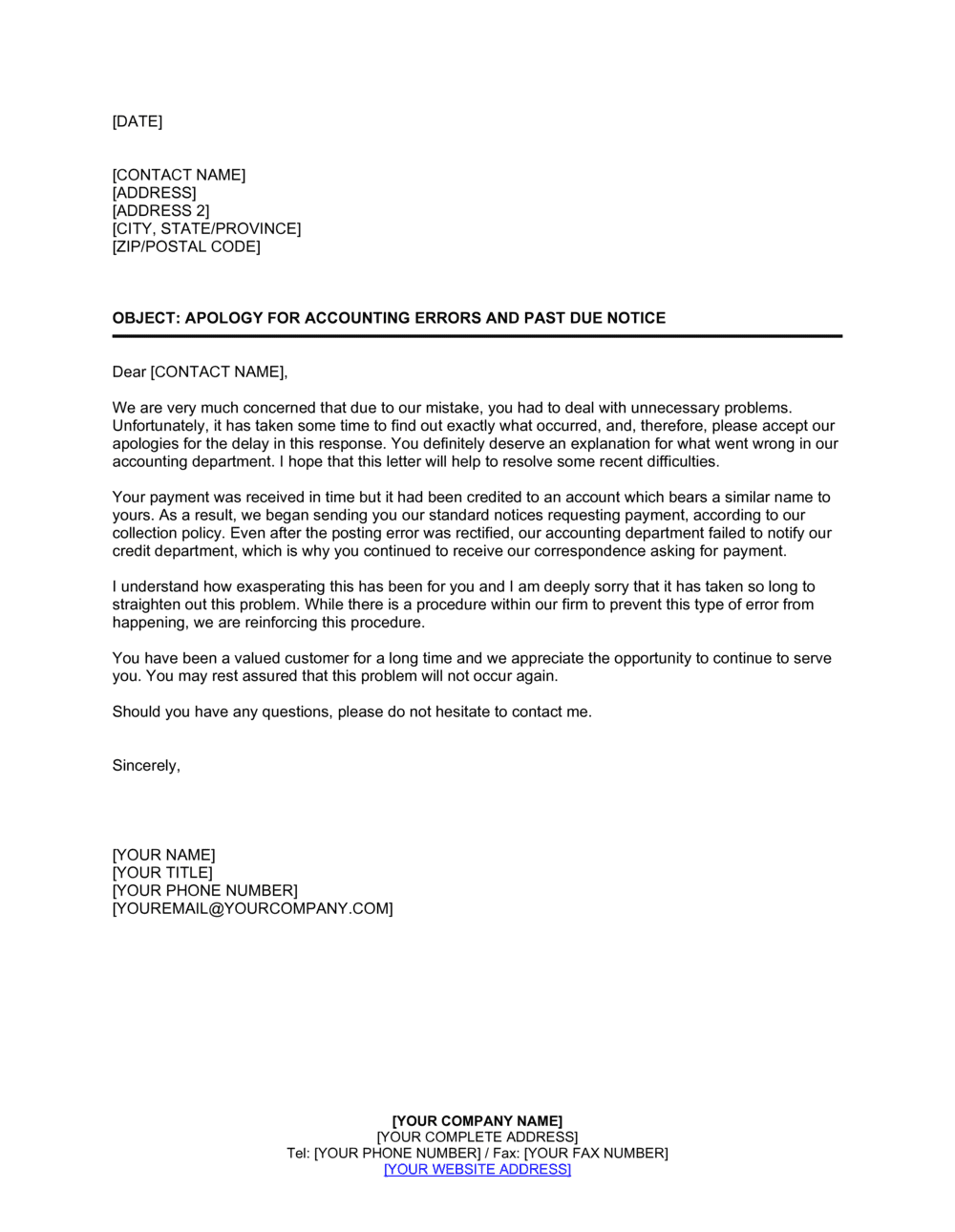 Business-in-a-Box's Apology for Accounting Errors and Past Due Notice Template