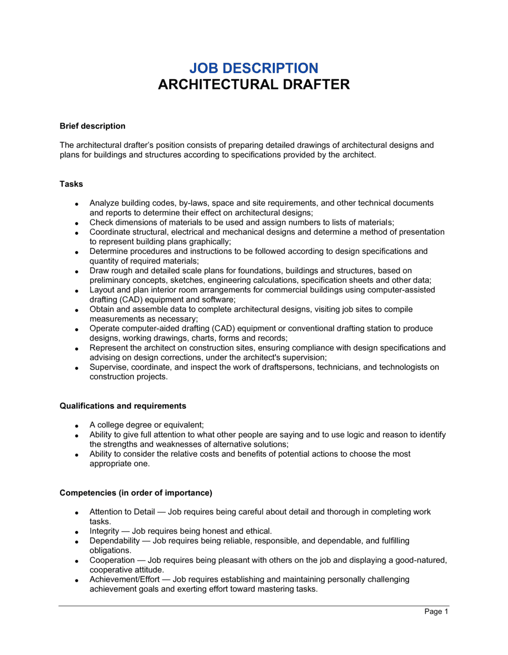 Business-in-a-Box's Architectural Drafter Job Description Template