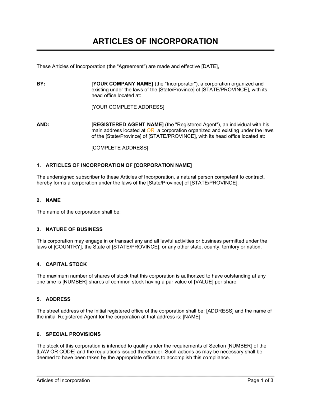 Business-in-a-Box's Articles of Incorporation Template