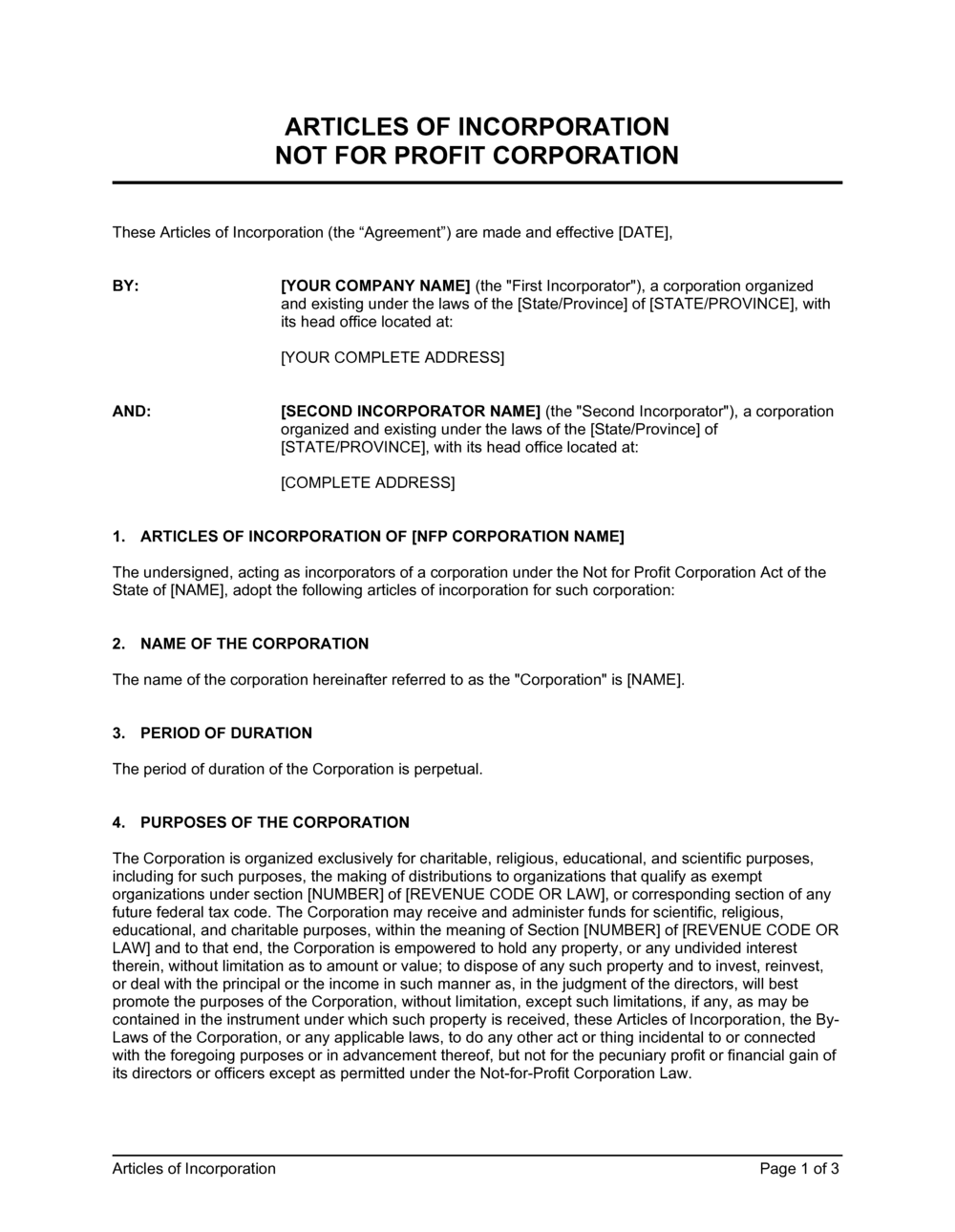 Business-in-a-Box's Articles of Incorporation Not for Profit Organization Template