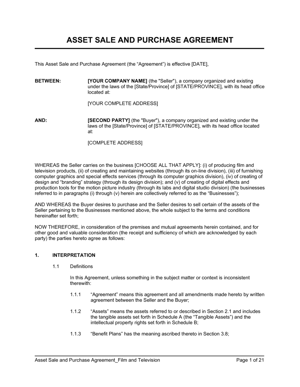 Asset Purchase Agreement Template from templates.business-in-a-box.com