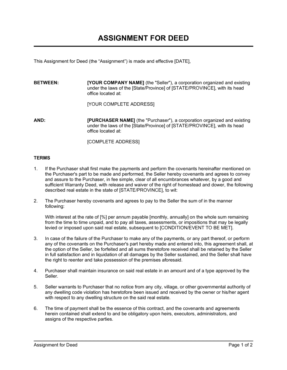 Business-in-a-Box's Assignment for Deed Template