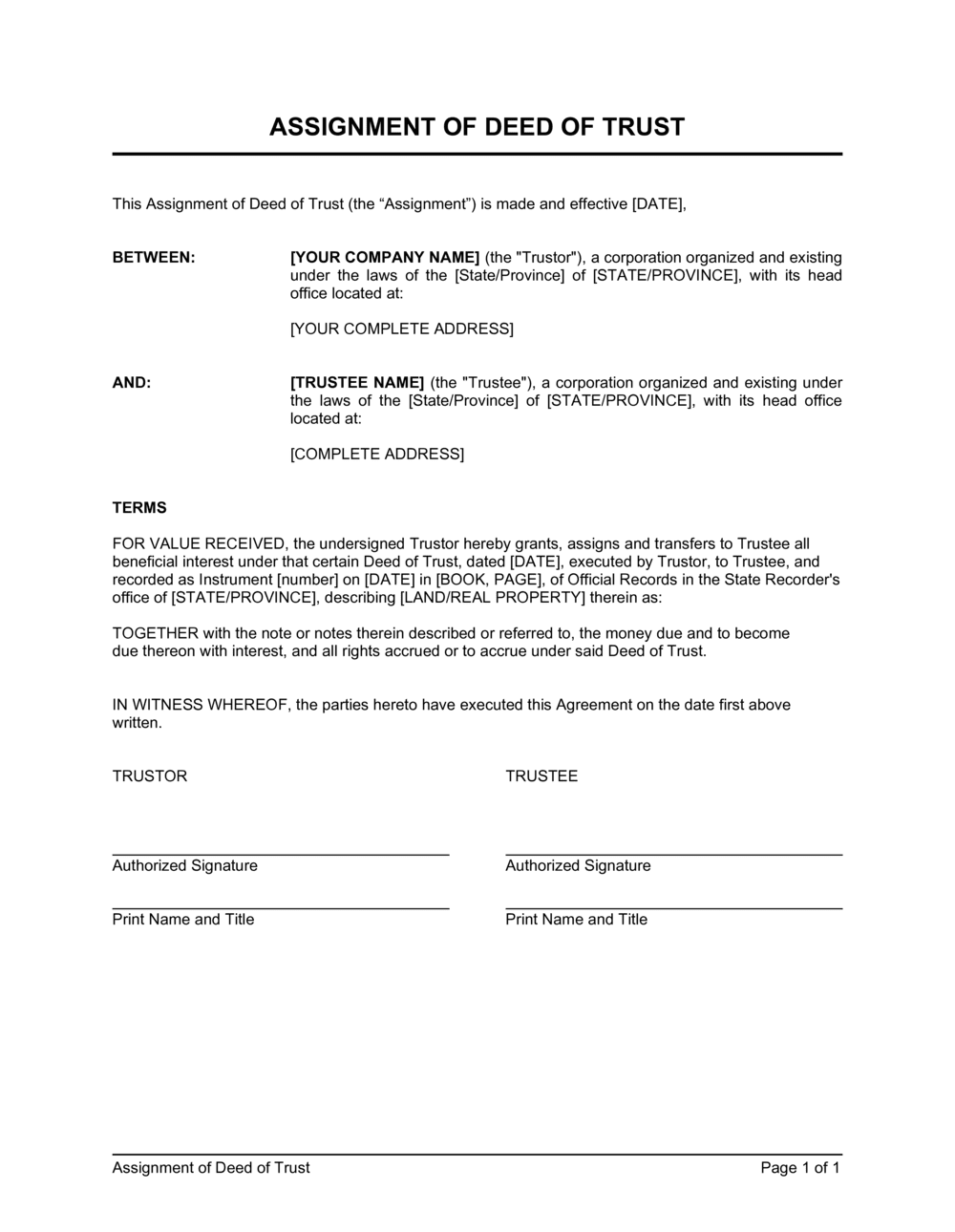 Business-in-a-Box's Assignment of Deed of Trust Template