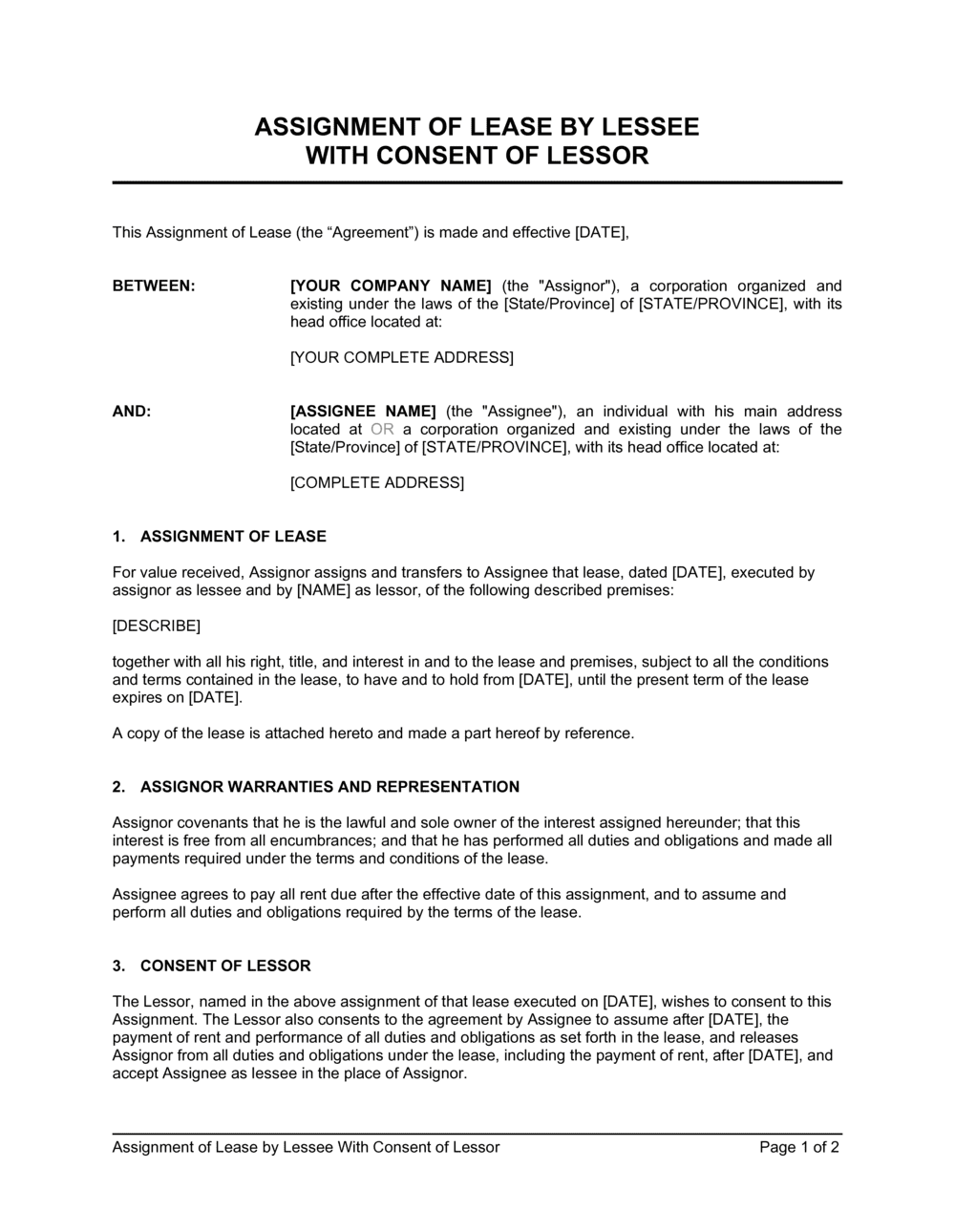 Business-in-a-Box's Assignment of Lease by Lessee With Consent of Lessor Template