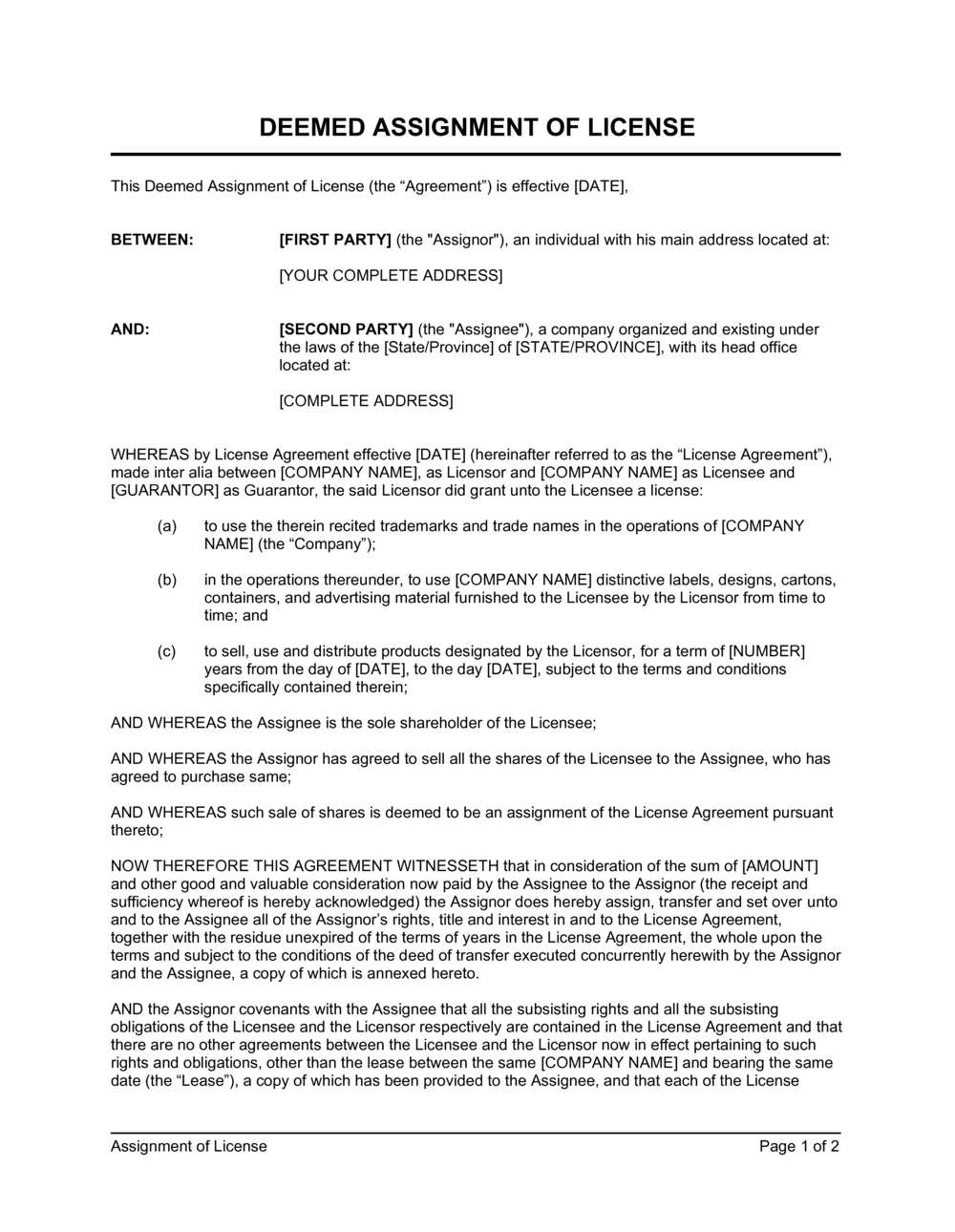 Business-in-a-Box's Assignment of License Template