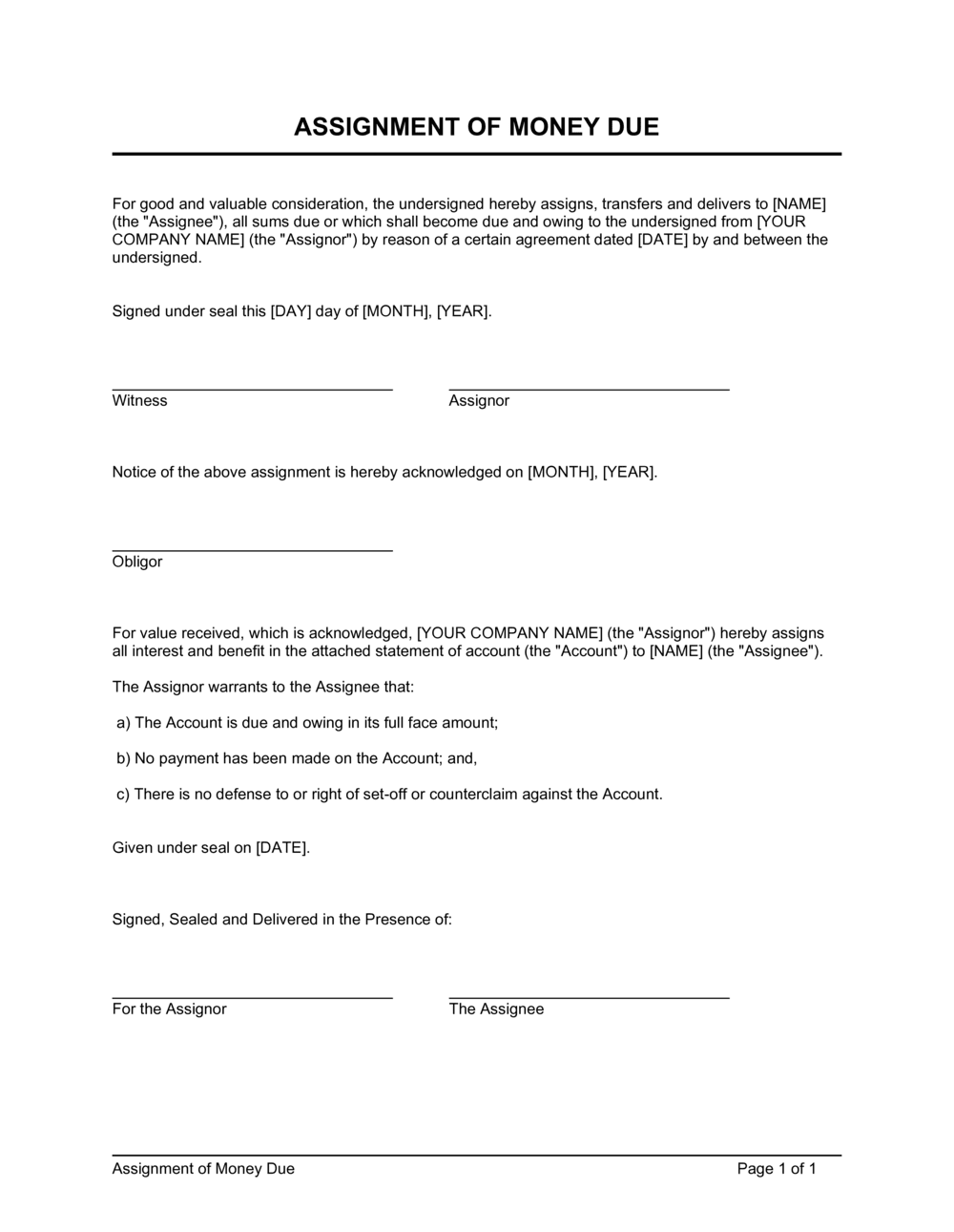 Business-in-a-Box's Assignment of Money Due Template