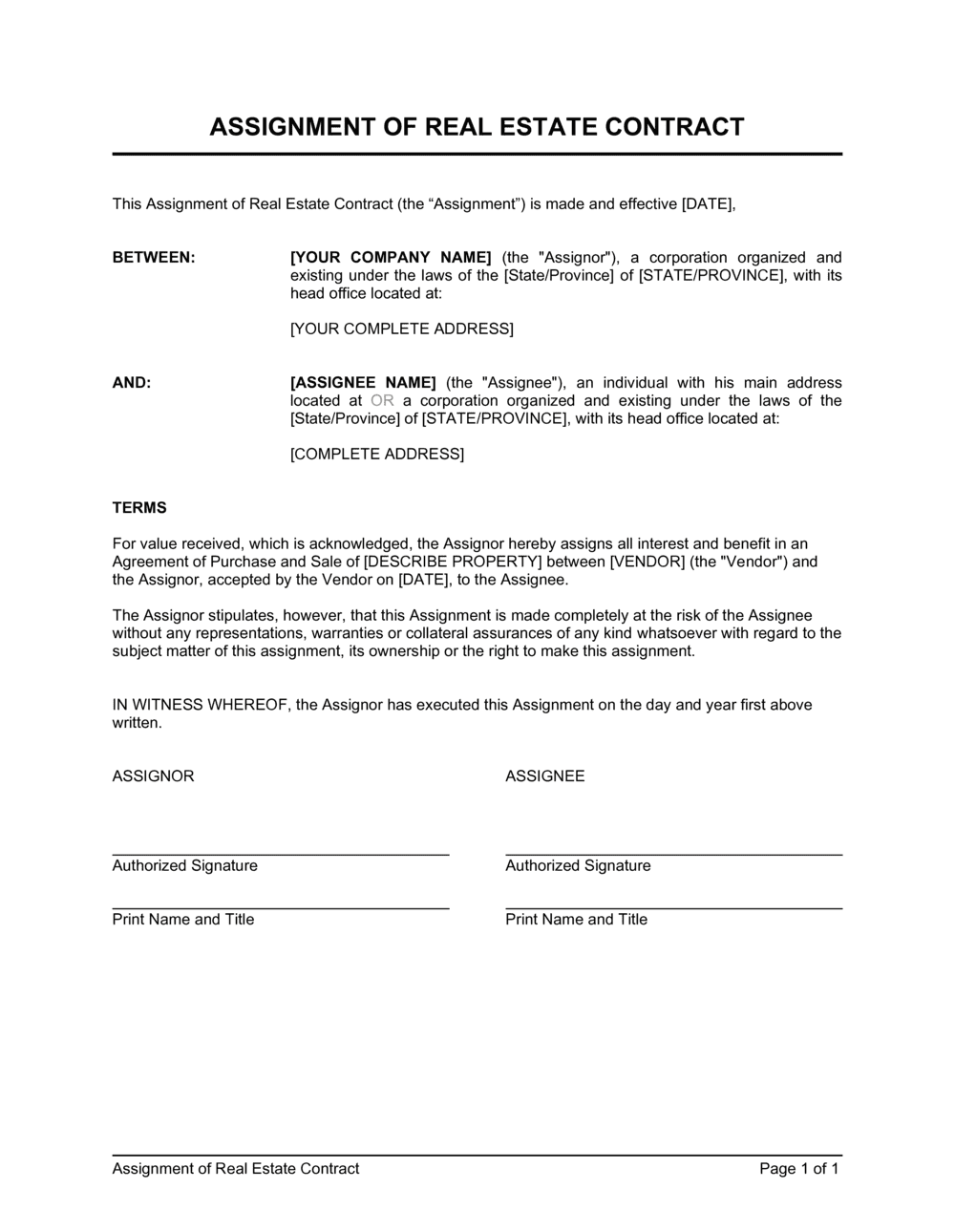Business-in-a-Box's Assignment of Real Estate Contract Template