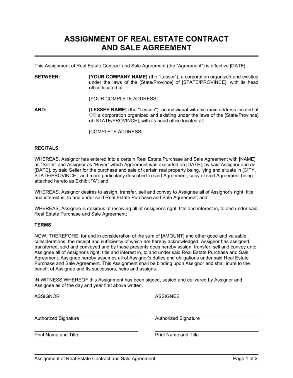 Business-in-a-Box's Assignment of Real Estate Contract and Sale Agreement Template