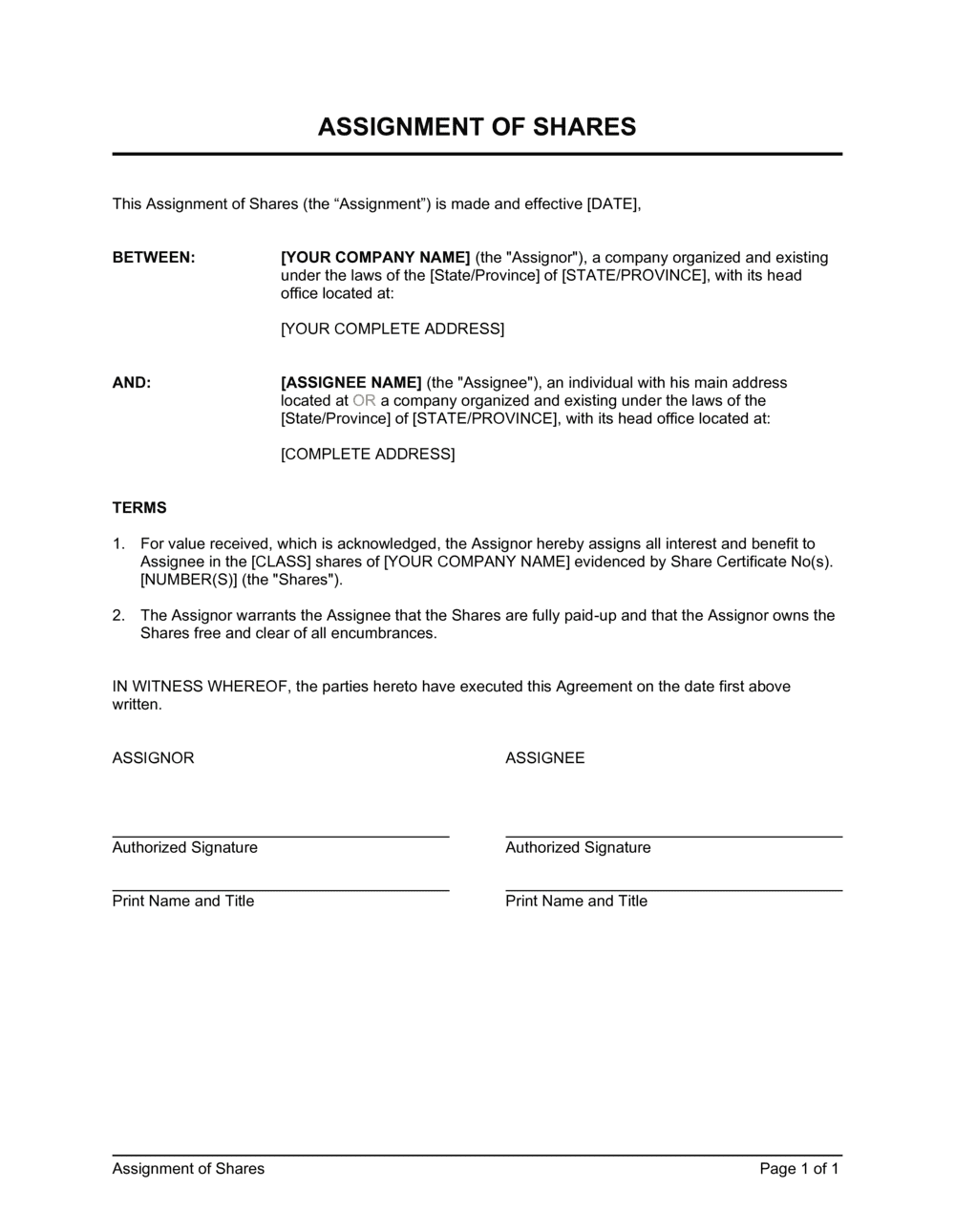 Business-in-a-Box's Assignment of Shares Template