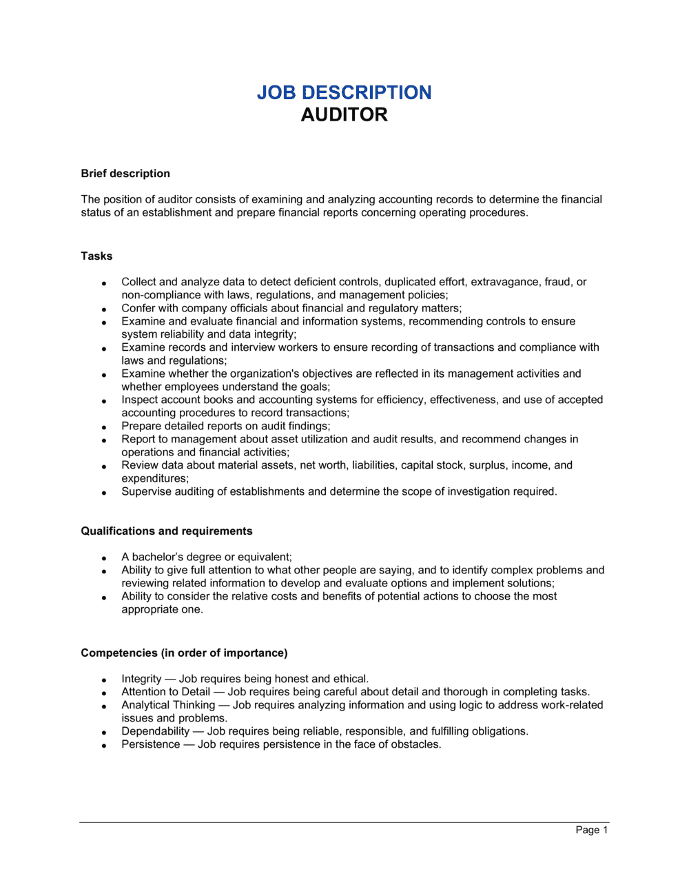 Business-in-a-Box's Auditor Job Description Template
