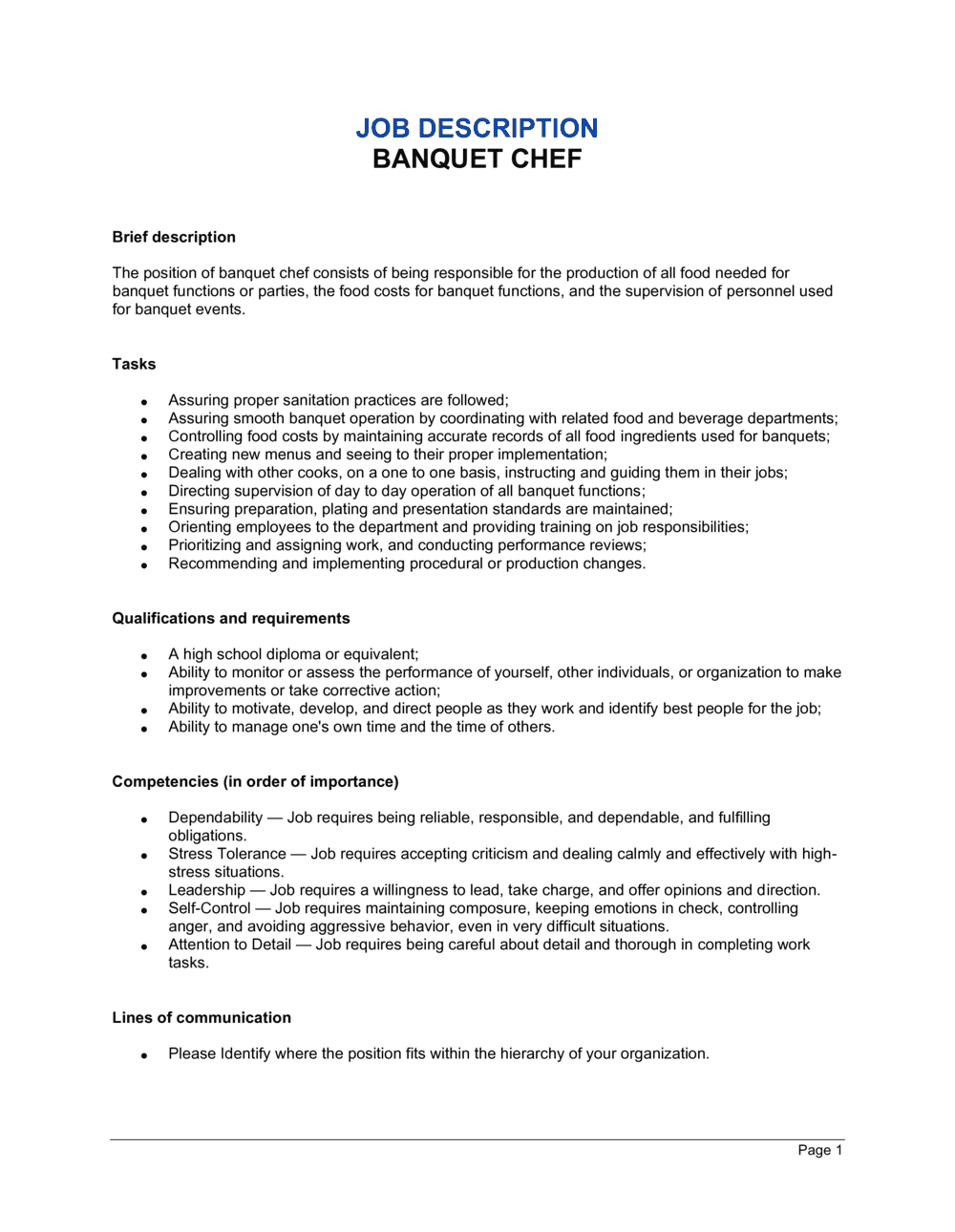 Business-in-a-Box's Banquet Chef Job Description Template