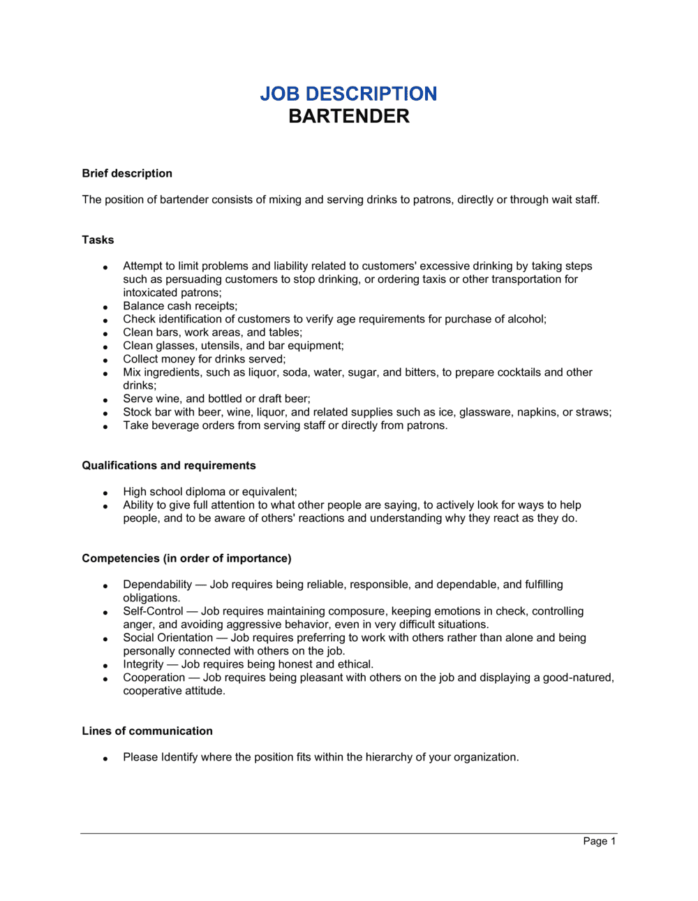Business-in-a-Box's Bartender Job Description Template