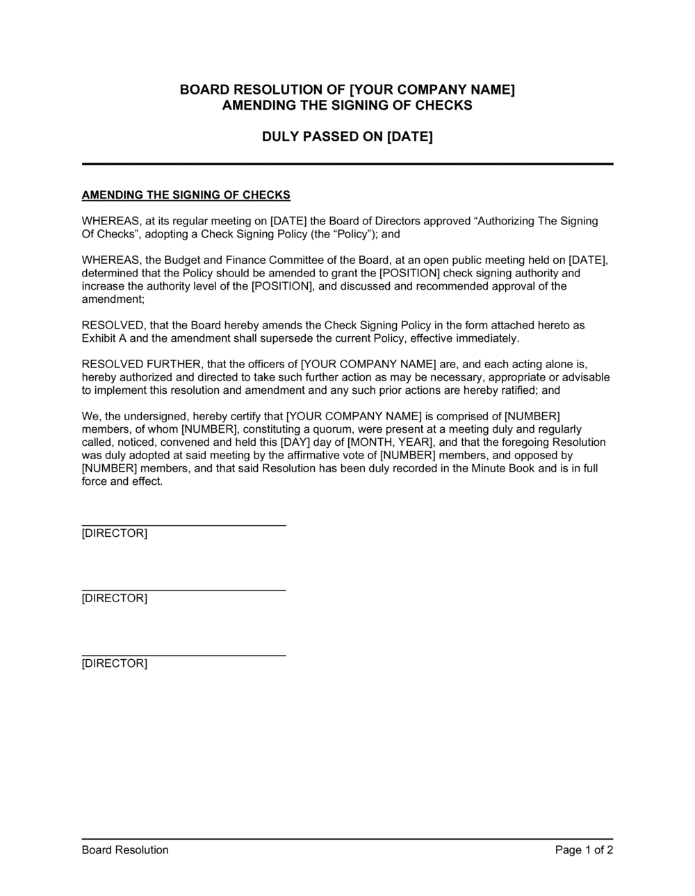 Business-in-a-Box's Board Resolution Amending the Signing of Checks Template