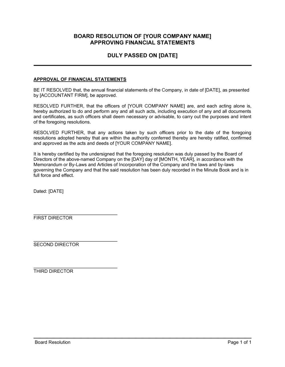 Business-in-a-Box's Board Resolution Approving Financial Statements Template