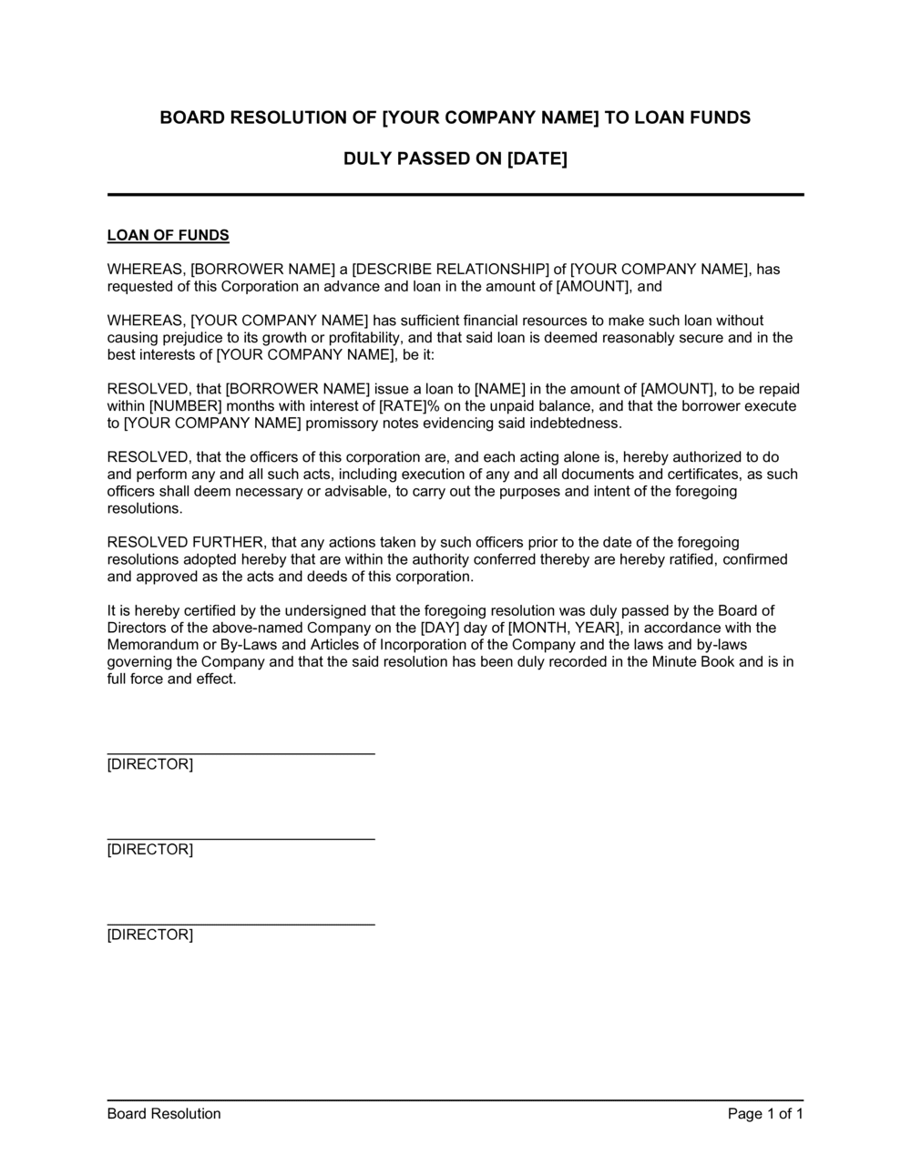 Premium Loans Board Resolution For Loan From Director