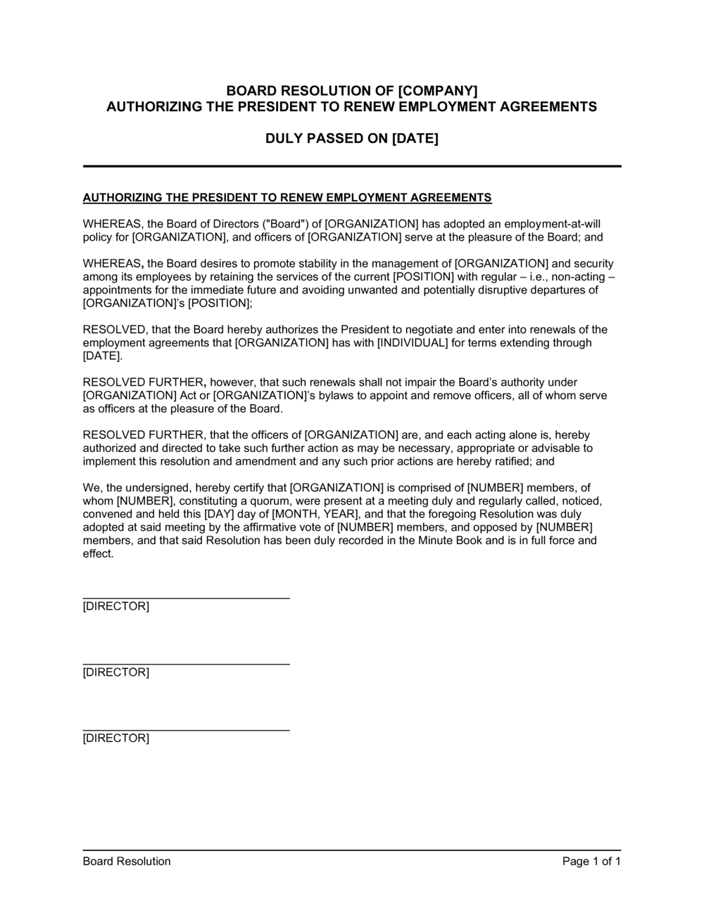 Business-in-a-Box's Board Resolution Authorizing the President to Renew Employment Agreements Template