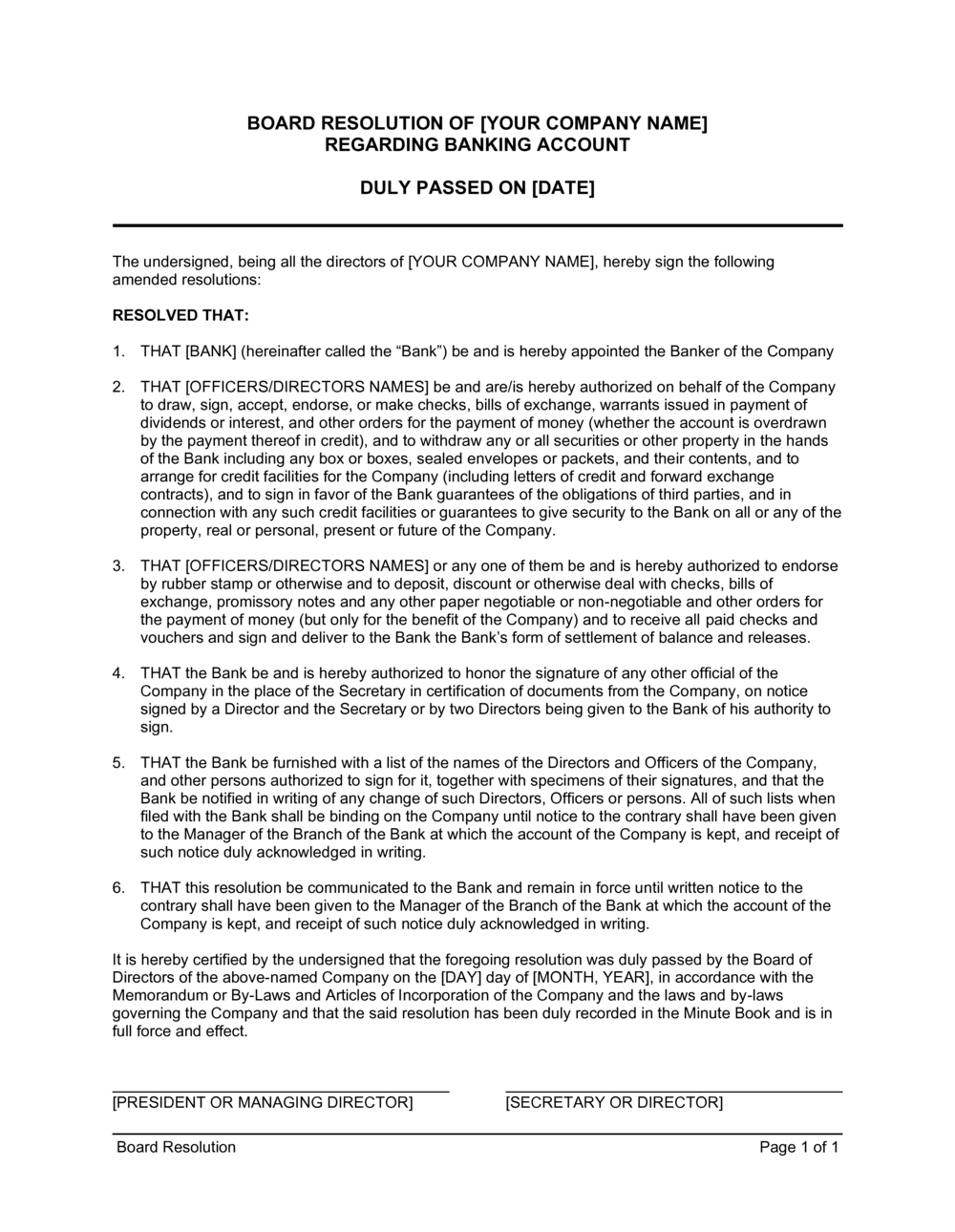 Business-in-a-Box's Board Resolution Regarding Banking Account Template