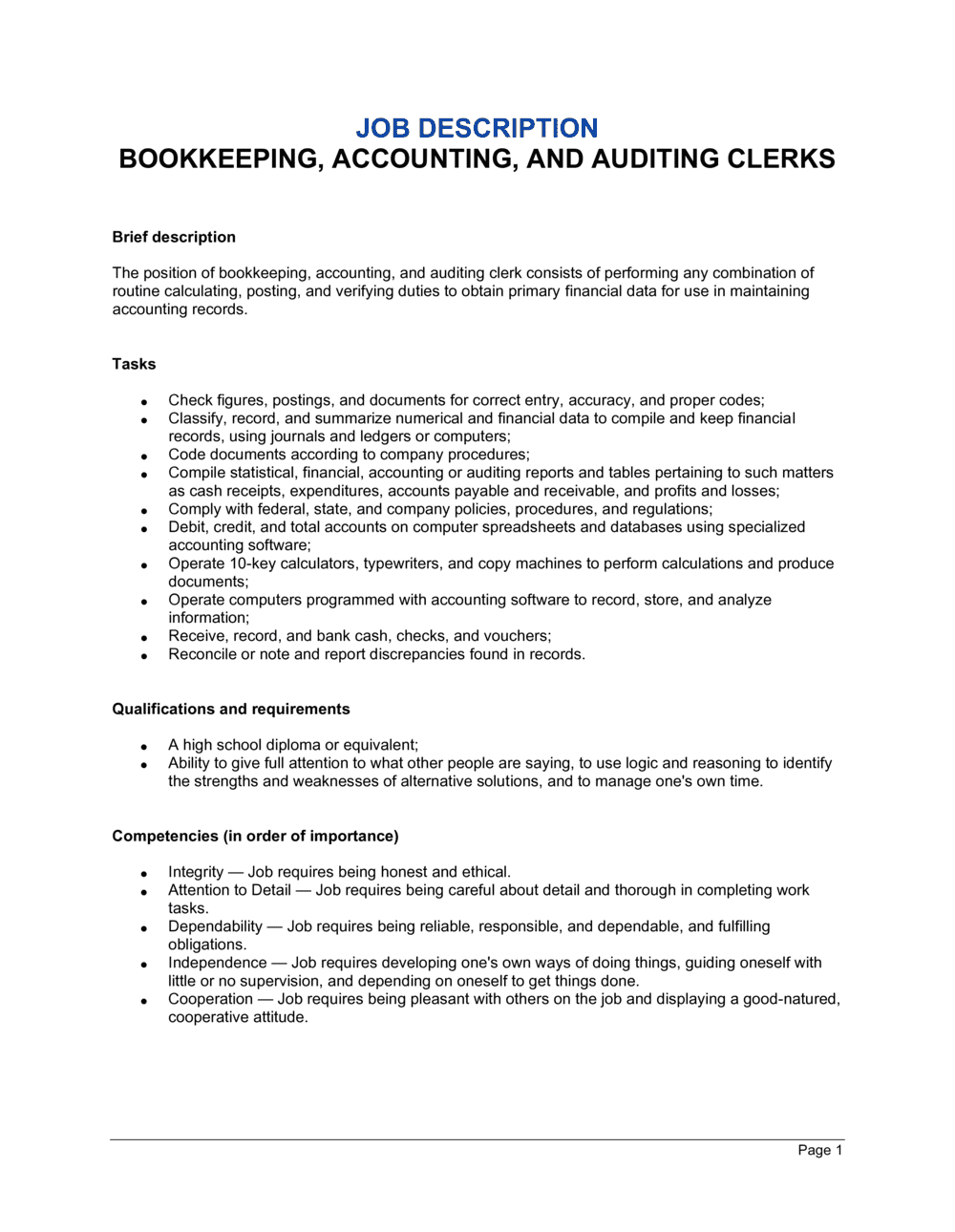 Business-in-a-Box's Bookkeeping, Accounting and Auditing Clerk Job Description Template