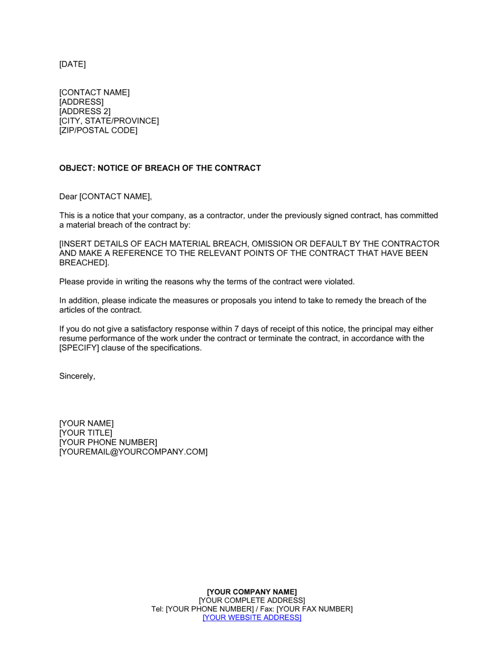 Business-in-a-Box's Breach Of Contract Letter Template