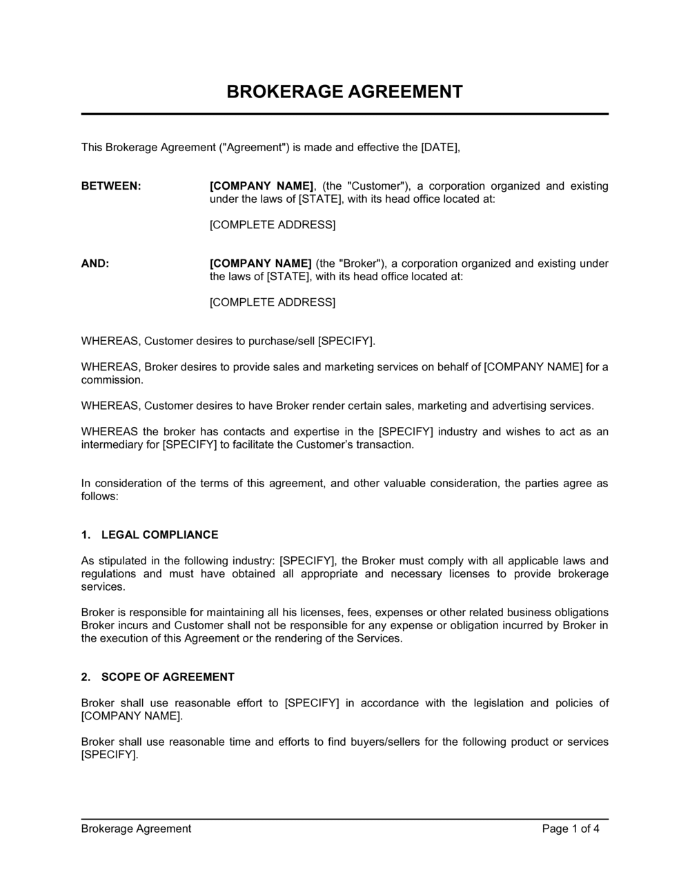 Brokerage Agreement Template By
